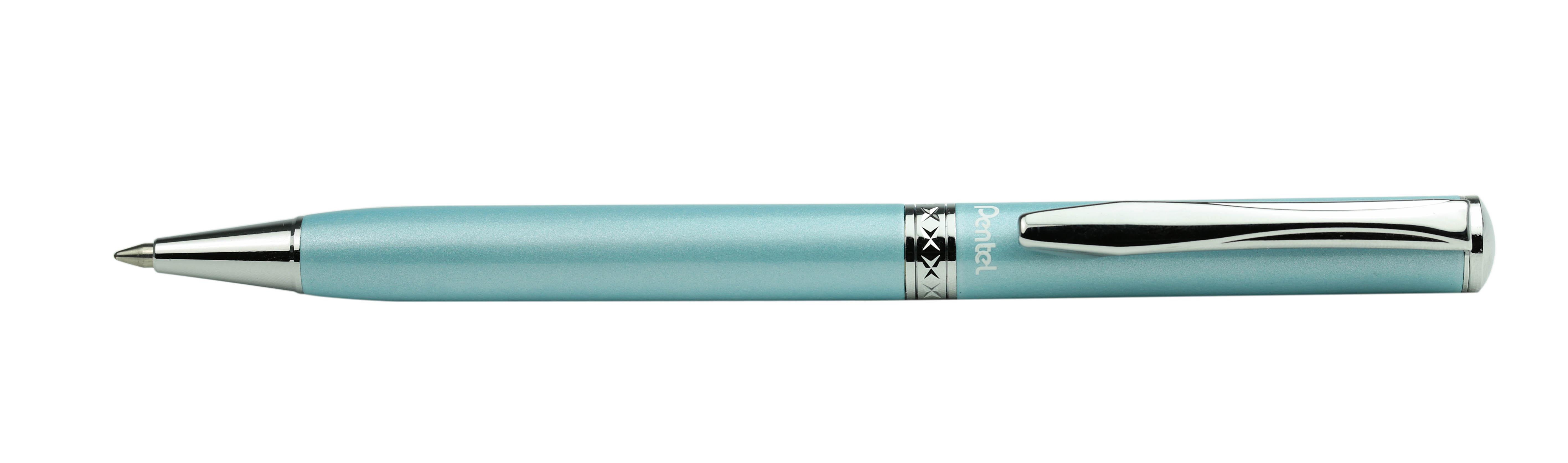 Подарочная шариковая ручка Pentel Sterling имеет поворотный механизм. Корпус ручки изготовлен из металла с хромированным покрытием. Стержень - черный, толщина пишущего узла - 0,8 мм. Чернила обеспечивают ровное и комфортное письмо. Упаковка - подарочный футляр.
