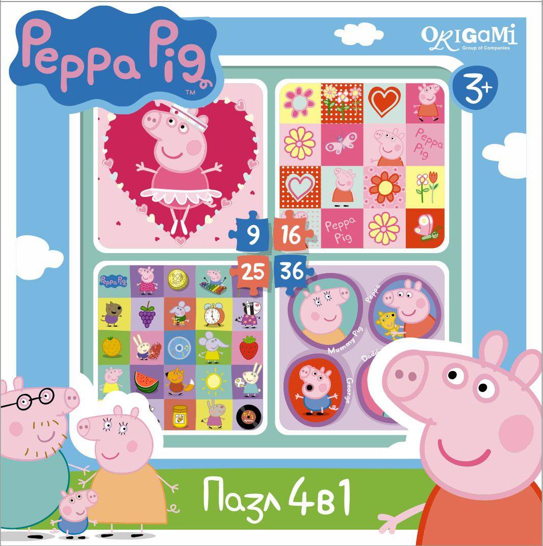 Оригами Пазл для малышей Peppa Pig 4 в 1 Герои и предметы пазлы peppa pig пазл 6в1 фигурный на прогулке