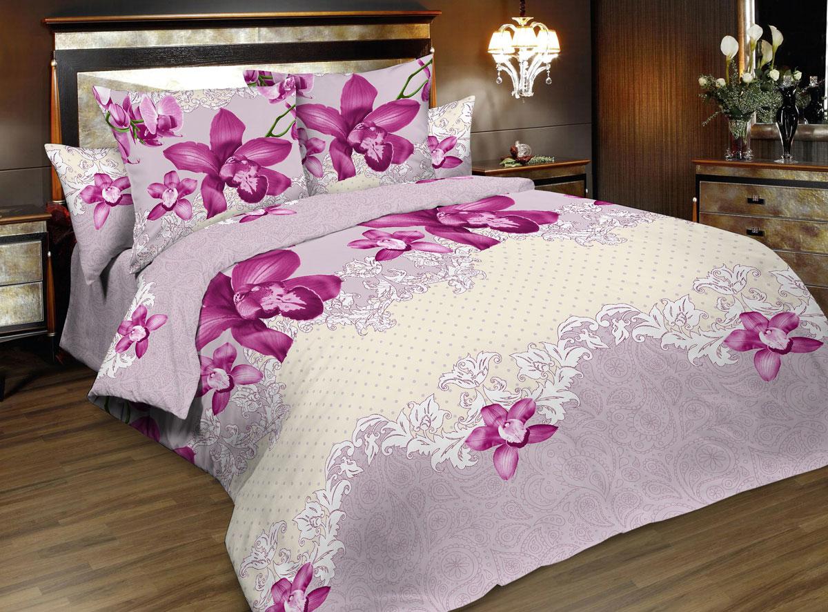 Комплект белья Seta Valery, 1,5-спальный, наволочки 50x70015835233Пленительная страсть орхидеи и романтичная нежность сирени — а что больше нравится вам? Выбирать теперь незачем! В этом наборе постельного белья насыщенный пурпурный великолепно гармонирует с сиреневым, а светлый кружевной акцент придает комплекту классическую нотку.Поплиновое постельное бельё от компании Seta имеет ряд несомненных достоинств: оно хорошо сохраняет форму и цвет, имеет приятную на ощупь поверхность, хорошо удерживает тепло и впитывает влагу. Кроме этого, комплекты постельного белья из поплина не требуют специального ухода: их можно стирать в стиральной машине при температуре до 60°C и утюжить при температуре до 110°C. Ткань поплин гипоаллергенна, отвечает всем европейским экологическим стандартам. И, наконец, такое постельное бельё при всех своих высоких эксплуатационных качествах стоит относительно недорого, изготовлено из 100 % хлопка.