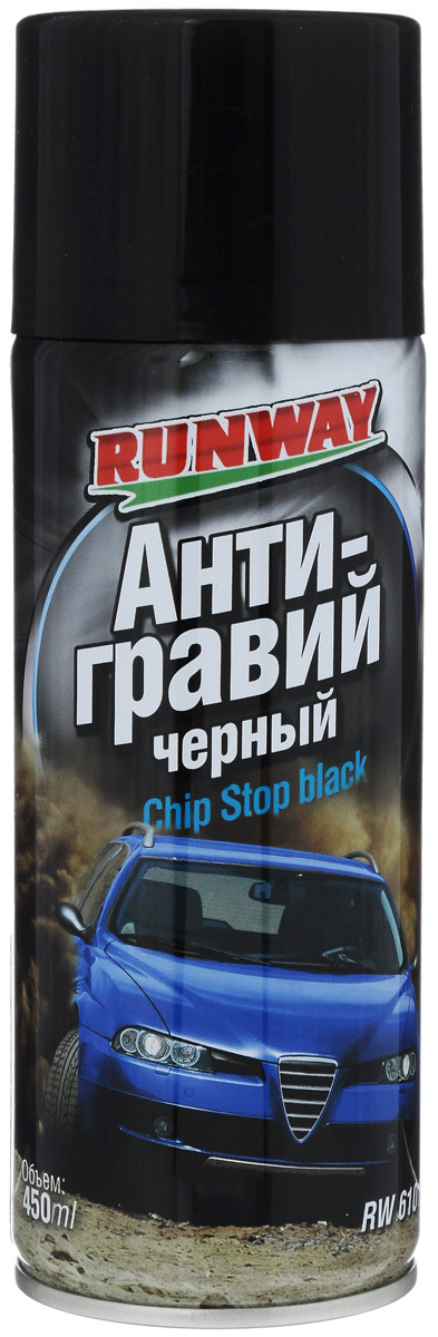 Антигравий Runway, цвет: черный, 450 мл68/3/7Антигравий Runway изготовлен на основе высокопрочного полимера для защиты нижних деталей кузова автомобиля, таких как пороги кузова, арки колес, нижние панели дверей, сильно подверженных абразивному воздействию камней и песка. Создает ударопрочное, химически стойкое покрытие, препятствующее возникновению коррозии и ржавчины. Продлевает срок службы кузова. Товар сертифицирован.