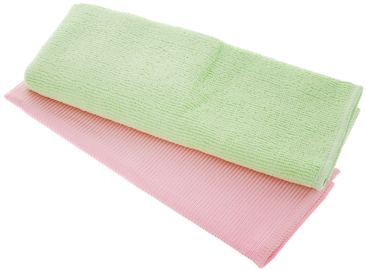 Салфетки для мытья окон Чистюля, цвет: розовый, салатовый, 35 х 35 см, 2 шт787502Салфетка Чистюля выполнена из микрофибры (полиэстер и полиамид) и поролона. Изделие отлично впитывает влагу, не оставляет разводов, быстро сохнет, сохраняет яркость цвета и не теряет форму даже после многократных стирок. Салфетка подходит для мытья окон и зеркал. Протертая поверхность становится идеально чистой, сухой и блестящей. Такая салфетка очень практична и неприхотлива в уходе. Размер салфетки: 35 х 35 см.