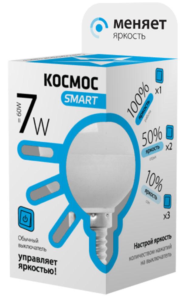 Лампа светодиодная Космос Smart, 3 уровня яркости, регулируется выключателем, шар, 220V, белый свет, цоколь Е14, 7WC0038548Тип: Умная лампа Серия: КОСМОС SMART Технология: светодиодная LED Назначение лампы: общего назначения с регулировкой яркости Вид/форма : шар ( GL45 /G ) / шарообразная Модель: LksmLEDSD7wGL45E1445 Эквивалентная мощность лампы накаливания, Вт : 60 Тип цоколя: Е14 (миньон) Свет: белый Температура света, К: 4500 Мощность, Вт: 7 Световой поток, Лм: 590 Угол рассеивания, град.: 270 Светодиоды: LED SMD 2835 Чип: Epistar Рабочий ток, А: 0,05 Номинальное напряжение, Вт.: 220 - 240 Номинальная частота, Гц: 50/60 Индекс цветопередачи: Ra>80 Температура использования от -40° до +50° Срок службы, час.: до 30 000 Гарантия: 1 год Специальные возможности/особенности: Умная лампа КОСМОС SMART - уникальная светодиодная технология в освещении от КОСМОС. Лампа имеет 3 уровня яркости: 100%, 50% и 10% и интенсивность освещения меняется обычным выключателем без использования светорегулятора или диммера, позволяя создавать выбранную атмосферу комфортного освещения просто включив и выключив свет. Для получения различных уровней яркости : по первому щелчку выключателя лампа загорится со 100% яркостью; Щелкните выключателем еще раз – и яркость лампы уменьшится до 50%; Щелкните выключателем третий раз- и яркость лампы станет 10%. после выключения более чем на 5 сек., при включении лампа снова загорится со 100% яркостью. Частые включения и выключения не влияют на срок службы лампы, за счет регулировки яркости снижается потребление энергии. Умный модуль управляющий светом производится по лицензии Philips, что гарантирует стабильный световой поток в течение всего срока службы. Благодаря алюминиевому цилиндрическому радиатору достигается высокий уровень надежности и срок службы лампы. Интеллектуальный драйвер обеспечивает отсутствие пульсации , мерцания, перегрева и скачков напряжения. Матовый рассеиватель обеспечивает мягкое и равномерное распределение света, что повышает зр