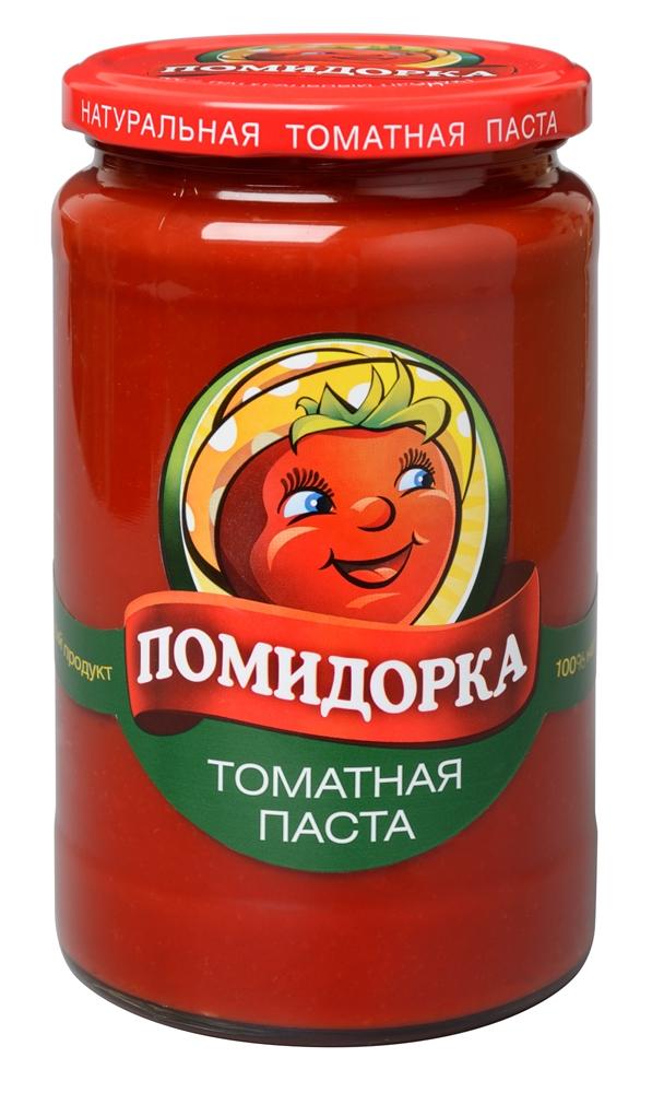 Помидорка томатная паста, 700 г1027Томатная паста Помидорка - гармоничный продукт с оригинальным, свежим вкусом, насыщенным цветом и ароматом. В ней отсутствуют искусственные пищевые добавки – это полностью натуральный продукт! Томатная паста Помидорка очень густая (содержит более 25% сухих веществ) и приготовлена только из помидоров.