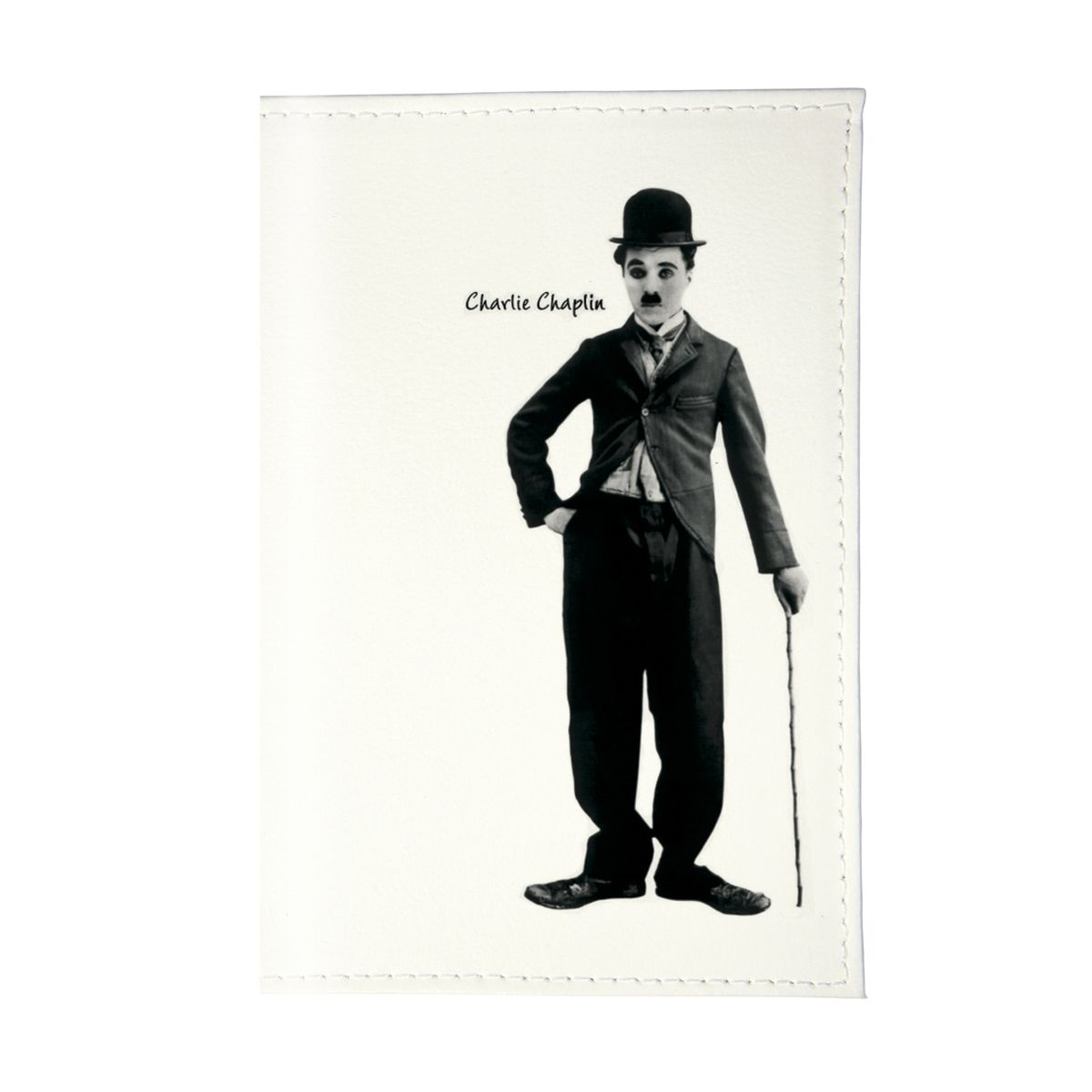 Обложка для паспорта Чарли Чаплин. OZAM075OZAM032Стильная обложка для автодокументов Mitya Veselkov не только поможет сохранить внешний вид ваших документов и защитить их от повреждений, но и станет стильным аксессуаром, идеально подходящим вашему образу.Она выполнена из ПВХ, внутри имеет съемный вкладыш, состоящий из шести файлов для документов, один из которых формата А5.