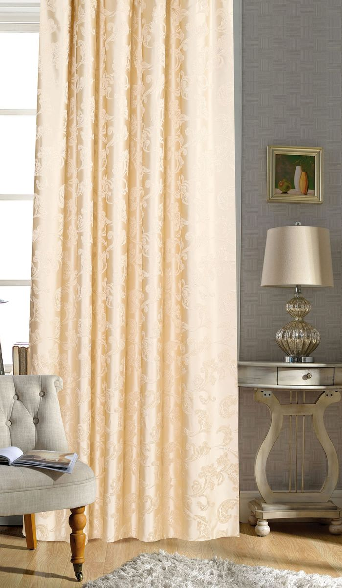 Штора Garden, на ленте, цвет: золотистый, высота 260 см. С 536329 V1SVC-300Garden – это универсальная и интересная серия домашних штор для яркого и стильного оформления окон и создания особенной уютной атмосферы. Эта штора великолепно смотрится как одна, так и в паре, в комбинации с нежной тюлевой занавеской, собранная на подхваты и свободно ниспадающая естественными складками. Такая штора, изготовленная полностью из прочного и очень практичного полиэстерового полотна, долговечна и не боится стирок, не сминается, не теряет своего блеска и яркости красок.