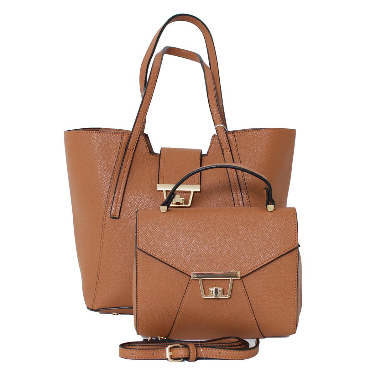 Сумка женский Flioraj, цвет: коричневый. 000521483-47660-00504В комплекте две сумки. Одна сумка (29 х 14 х 27, высота ручки - 26) закрывается на молнию, внутри одно отделение. Вторая сумка (22 х 11 х 17, высота ручки - 7) закрывается на декоративный клапан, внутри одно отделение, один открытый карман. Длинный ремень