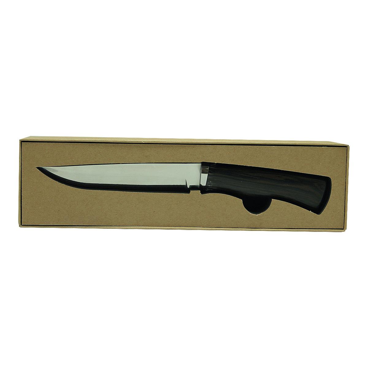 Нож Экспедиция Куница, цвет: коричневыйEKN-18Нож Экспедиция Куница - крутой аксессуар для настоящих мужчин! Деревянная рукоять ножа очень удобно ложится в руку. А лезвие, выполненное из высококачественной стали, имеет оптимальную длину и форму. Благодаря специальной заточке клинок будет оставаться острым на протяжении многих лет службы. Оригинальный нож Куница станет отменным подарком охотнику, рыбаку, туристу, путешественнику или коллекционеру качественного холодного оружия. Материал клинка: высококачественная нержавеющая сталь.Материал рукояти: дерево, покрытое лаком.