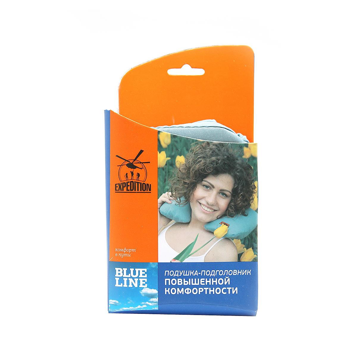 Подушка-подголовник  Экспедиция , надувная, с пухом, цвет: голубой - Подушки