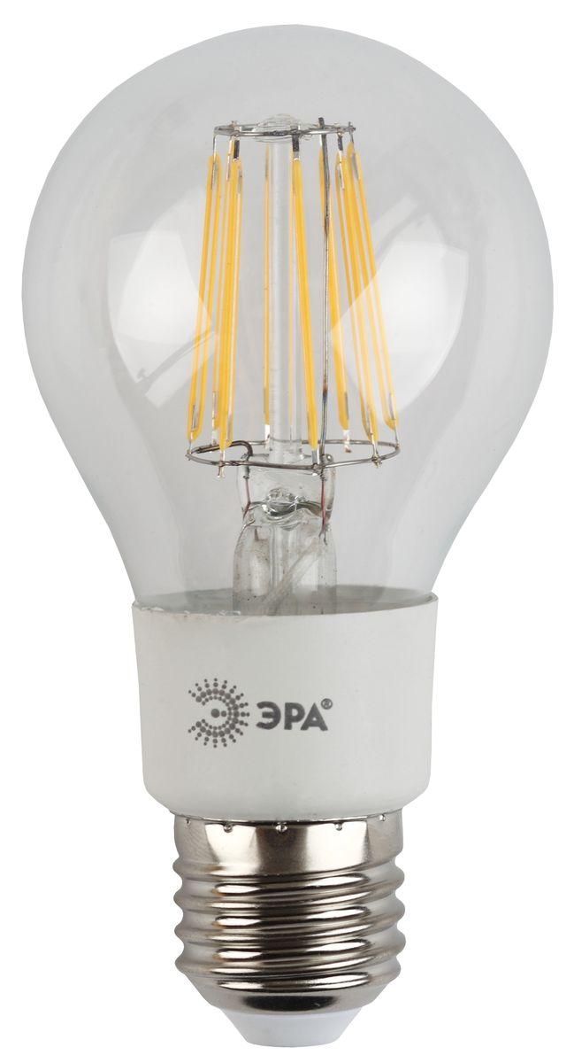Лампа светодиодная ЭРА F-LED, цоколь E27, 170-265V, 5W, 2700К. A60-5w-827-E27C0038550Светодиодная лампа ЭРА F-LED является самым перспективным источником света. Основным преимуществом данного источника света является длительный срок службы и очень низкое энергопотребление, так, например, по сравнению с обычной лампой накаливания светодиодная лампа служит в среднем в 50 раз дольше и потребляет в 10-15 раз меньше электроэнергии. При этом светодиодная лампа практически не подвержена механическому воздействию из-за прочной конструкции и позволяет получить любой цвет светового потока, что, несомненно, расширяет возможности применения и позволяет создавать новые решения в области освещения.Максимально похожа на лампу накаливания, может использоваться в дизайнерских интерьерах. Угол рассеивания светового потока 360 градусов.