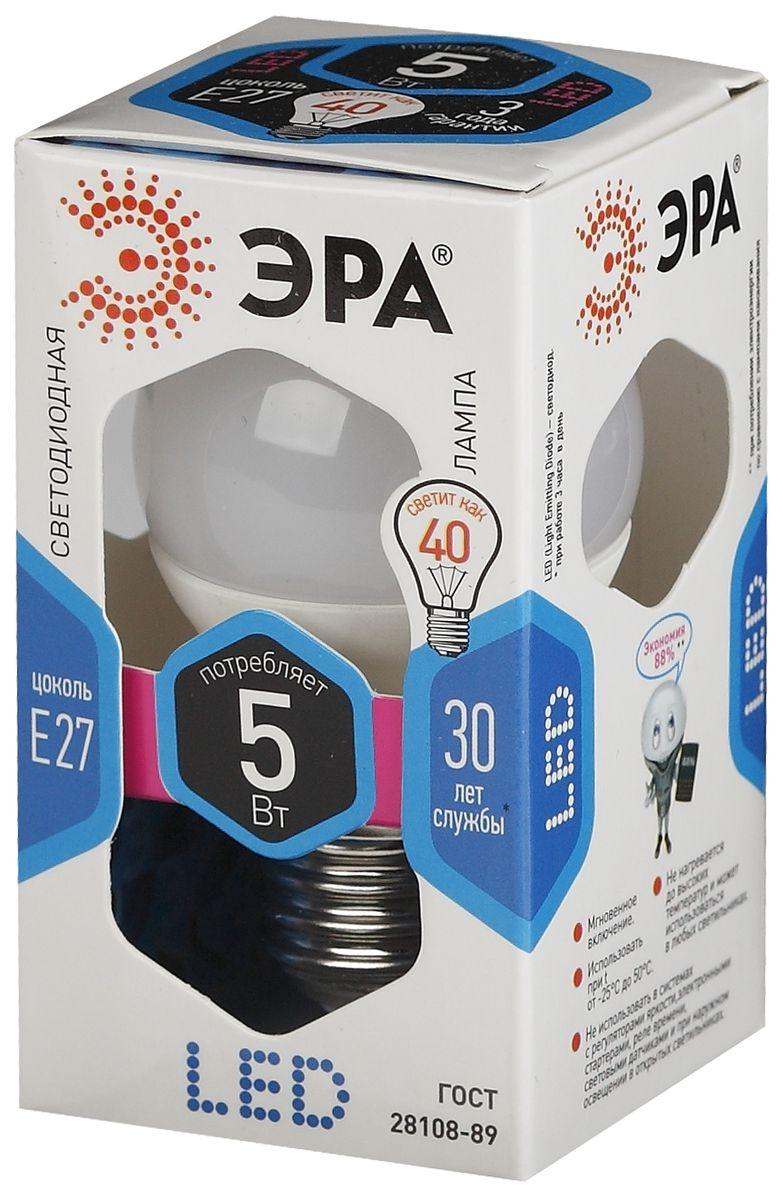 Лампа светодиодная ЭРА, цоколь E27, 170-265V, 5W, 4000КC0042416Светодиодная лампа ЭРА является самым перспективным источником света. Основным преимуществом данного источника света является длительный срок службы и очень низкое энергопотребление, так, например, по сравнению с обычной лампой накаливания светодиодная лампа служит в среднем в 50 раз дольше и потребляет в 10-15 раз меньше электроэнергии. При этом светодиодная лампа практически не подвержена механическому воздействию из-за прочной конструкции и позволяет получить любой цвет светового потока, что, несомненно, расширяет возможности применения и позволяет создавать новые решения в области освещения.