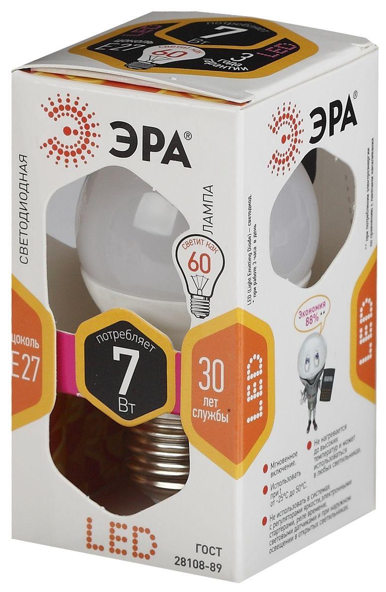 Лампа светодиодная ЭРА, цоколь E27, 170-265V, 7W, 2700К.P45-7w-827-E275055945518245Светодиодная лампа ЭРА является самым перспективным источником света. Основным преимуществом данного источника света является длительный срок службы и очень низкое энергопотребление, так, например, по сравнению с обычной лампой накаливания светодиодная лампа служит в среднем в 50 раз дольше и потребляет в 10-15 раз меньше электроэнергии. При этом светодиодная лампа практически не подвержена механическому воздействию из-за прочной конструкции и позволяет получить любой цвет светового потока, что, несомненно, расширяет возможности применения и позволяет создавать новые решения в области освещения.