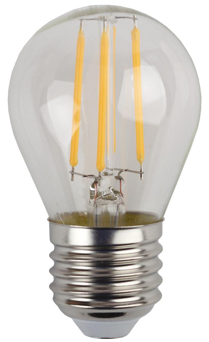 Лампа светодиодная ЭРА F-LED, цоколь E27, 170-265V, 5W, 2700К. Р45-5w-827-E27C0044702Светодиодная лампа ЭРА F-LED является самым перспективным источником света. Основным преимуществом данного источника света является длительный срок службы и очень низкое энергопотребление, так, например, по сравнению с обычной лампой накаливания светодиодная лампа служит в среднем в 50 раз дольше и потребляет в 10-15 раз меньше электроэнергии. При этом светодиодная лампа практически не подвержена механическому воздействию из-за прочной конструкции и позволяет получить любой цвет светового потока, что, несомненно, расширяет возможности применения и позволяет создавать новые решения в области освещения.Максимально похожа на лампу накаливания, может использоваться в дизайнерских интерьерах. Угол рассеивания светового потока 360 градусов.