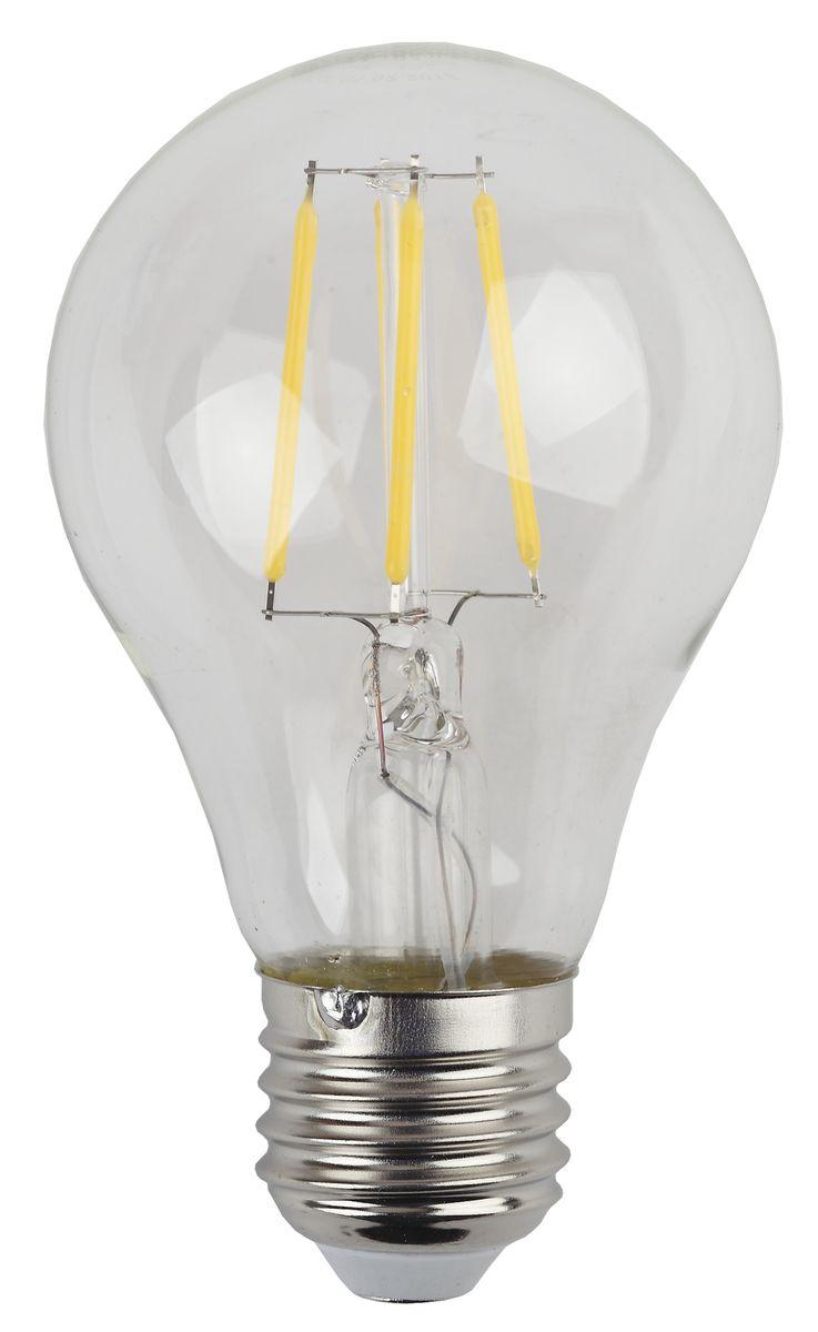 Лампа светодиодная ЭРА F-LED, цоколь E27, 170-265V, 5W, 2700КC0038548Светодиодная лампа ЭРА F-LED является самым перспективным источником света. Основным преимуществом данного источника света является длительный срок службы и очень низкое энергопотребление, так, например, по сравнению с обычной лампой накаливания светодиодная лампа служит в среднем в 50 раз дольше и потребляет в 10-15 раз меньше электроэнергии. При этом светодиодная лампа практически не подвержена механическому воздействию из-за прочной конструкции и позволяет получить любой цвет светового потока, что, несомненно, расширяет возможности применения и позволяет создавать новые решения в области освещения.Максимально похожа на лампу накаливания, может использоваться в дизайнерских интерьерах. Угол рассеивания светового потока 360 градусов.