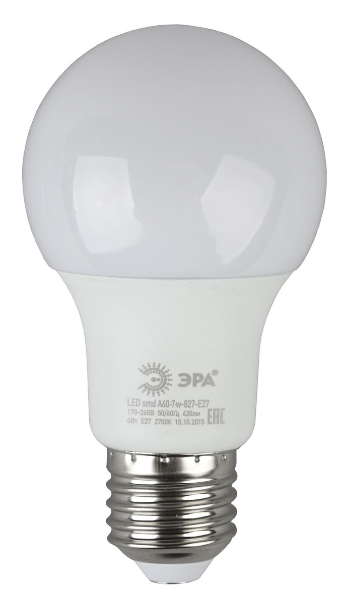 Лампа светодиодная ЭРА, цоколь E27, 170-265V, 7W, 4000КC0027358Светодиодная лампа ЭРА является самым перспективным источником света. Основным преимуществом данного источника света является длительный срок службы и очень низкое энергопотребление, так, например, по сравнению с обычной лампой накаливания светодиодная лампа служит в среднем в 50 раз дольше и потребляет в 10-15 раз меньше электроэнергии. При этом светодиодная лампа практически не подвержена механическому воздействию из-за прочной конструкции и позволяет получить любой цвет светового потока, что, несомненно, расширяет возможности применения и позволяет создавать новые решения в области освещения.