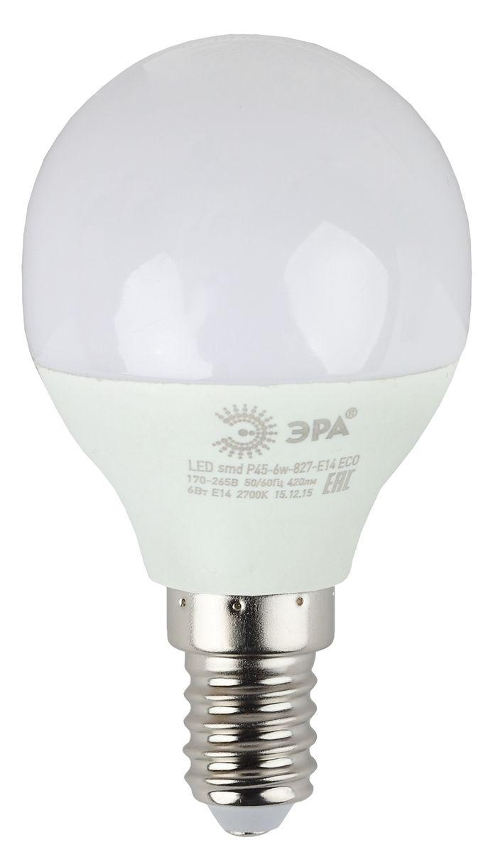 Лампа светодиодная ЭРА Eco, цоколь E14, 170-265V, 6W, 4000К. Р45-6w-840-E14 ECOC0044702Светодиодная лампа ЭРА Eco является самым перспективным источником света. Основным преимуществом данного источника света является длительный срок службы и очень низкое энергопотребление, так, например, по сравнению с обычной лампой накаливания светодиодная лампа служит в среднем в 50 раз дольше и потребляет в 10-15 раз меньше электроэнергии. При этом светодиодная лампа практически не подвержена механическому воздействию из-за прочной конструкции и позволяет получить любой цвет светового потока, что, несомненно, расширяет возможности применения и позволяет создавать новые решения в области освещения.Серия Eco достаточна для обычного потребителя. Работа в цепи с выключателем с подсветкой не рекомендована.