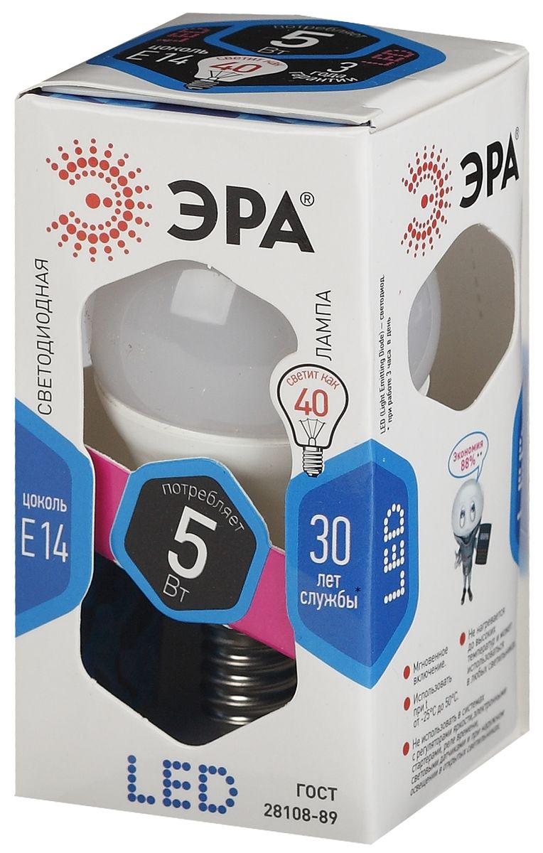 Лампа светодиодная ЭРА, цоколь E14, 170-265V, 5W, 4000К. P45-5w-840-E14C0044702Светодиодная лампа ЭРА является самым перспективным источником света. Основным преимуществом данного источника света является длительный срок службы и очень низкое энергопотребление, так, например, по сравнению с обычной лампой накаливания светодиодная лампа служит в среднем в 50 раз дольше и потребляет в 10-15 раз меньше электроэнергии. При этом светодиодная лампа практически не подвержена механическому воздействию из-за прочной конструкции и позволяет получить любой цвет светового потока, что, несомненно, расширяет возможности применения и позволяет создавать новые решения в области освещения.