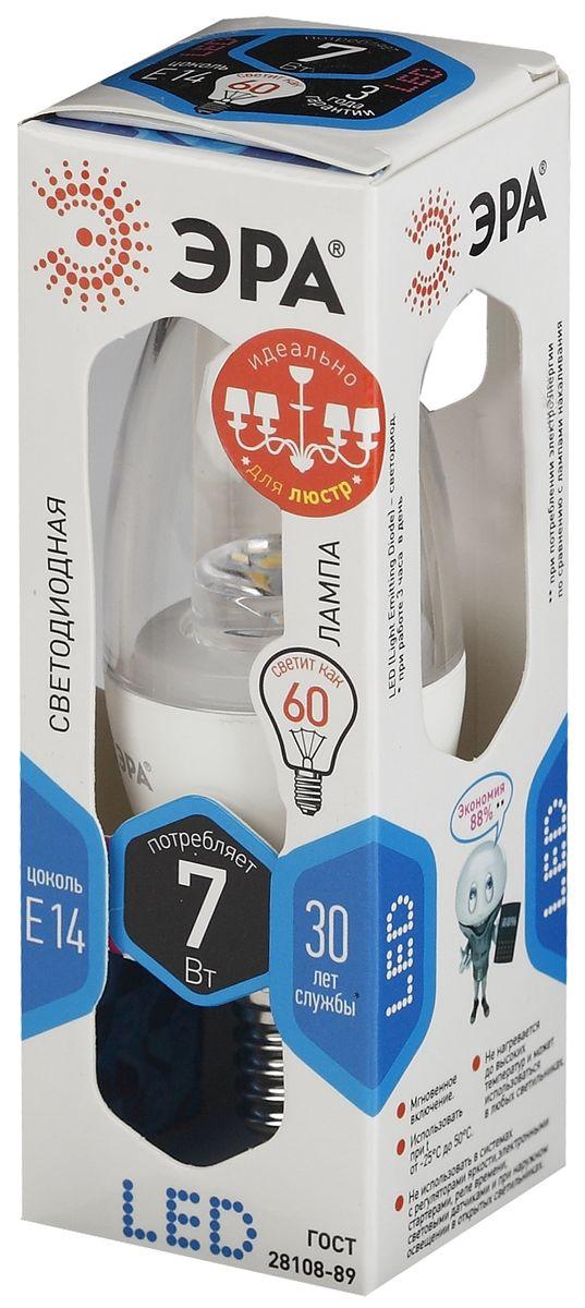Лампа светодиодная ЭРА Clear, цоколь E14, 170-265V, 7W, 4000К. B35-7w-840-E14-ClearRSP-202SСветодиодная лампа ЭРА Clear является самым перспективным источником света. Основным преимуществом данного источника света является длительный срок службы и очень низкое энергопотребление, так, например, по сравнению с обычной лампой накаливания светодиодная лампа служит в среднем в 50 раз дольше и потребляет в 10-15 раз меньше электроэнергии. При этом светодиодная лампа практически не подвержена механическому воздействию из-за прочной конструкции и позволяет получить любой цвет светового потока, что, несомненно, расширяет возможности применения и позволяет создавать новые решения в области освещения.Светодиодная лампа серии Clear предназначена для хрустальных люстр. При их использовании хрусталь играет под яркими лучами. Угол рассеивания светового потока 270 градусов. Совместима с выключателями с подсветкой.