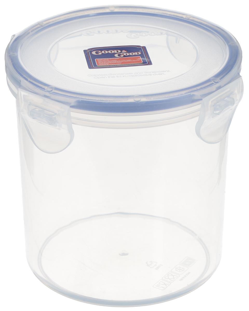 Контейнер для пищевых продуктов Good&Good, цвет: прозрачный, синий, 780 млVT-1520(SR)Контейнер Good&Good, изготовленный из высококачественного полипропилена, предназначен для хранения любых пищевых продуктов. Крышка с силиконовой вставкой герметично защелкивается специальным механизмом. Изделие устойчиво к воздействию масел и жиров, легко моется. Прозрачные стенки позволяют видеть содержимое. Контейнер имеет возможность хранения продуктов глубокой заморозки, обладает высокой прочностью. Контейнер Good&Good удобен для ежедневного использования в быту.Можно мыть в посудомоечной машине и использовать в холодильнике.Размер контейнера (с учетом крышки): 11 х 11 х 12 см.