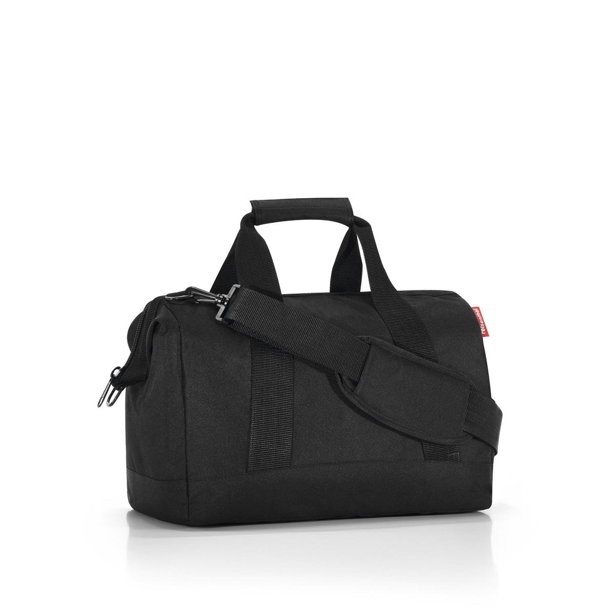 Сумка Reisenthel Allrounder M black, цвет: черный. MS7003579995-400Сумка хоть куда - и в путешествие, и в спортзал. Вместит все, от носков до пиджака. Приятные объемные стенки и дно создают силуэт, напоминающий старинные врачебные сумки. Застегивается на молнию, плюс внутрь встроены металлические скобы, фиксирующие ее в открытом состоянии. Внутри 6 кармашков для организации вещей. У сумки две удобные ручки и ремень регулируемой длины. Объем - 18 литров.