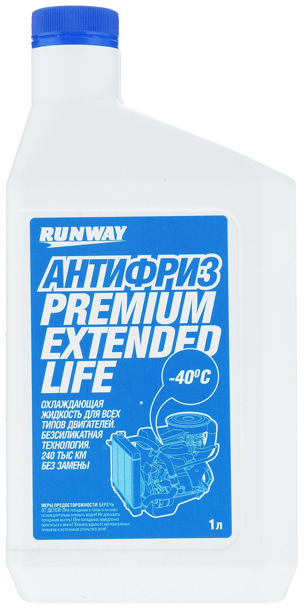 Антифриз Runway Premium Extended Life, цвет: синий, 1 лSVC-300Антифриз Runway Premium Extended Life на основе этиленгликоля предназначен для применения в системе охлаждения бензиновых и дизельных двигателей. Средство изготовлено с использованием новейших ингибиторных присадок (карбоксилатная/безсиликатная технология OAT (Organic Acid Technology)), предотвращающих коррозию системы охлаждения и продлевающих срок работы антифриза без ухудшения эксплуатационных свойств до 240000 км пробега автомобиля или 5 лет. Не содержит фосфатов, боратов, нитратов или силикатов. Предохраняет резиновые детали системы охлаждения и сальники помпы от высыхания и растрескивания, содержит пакет антиокислительных и антипенных присадок. Предохраняет металлические части системы охлаждения от кавитационной эрозии и воздействия высоких температур. Обеспечивает диапазон рабочих температур двигателя от -40°С до +135°С. Соответствует американским и международным стандартам.Товар сертифицирован.