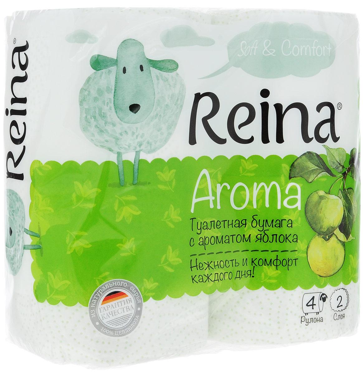Бумага туалетная Reina Aroma. Яблоко, ароматизированная, двухслойная, 4 рулона010-01199-23Ароматизированная туалетная бумагаReina Aroma. Яблоко выполнена из натуральной целлюлозы и обладает приятным ароматом яблока. Двухслойная туалетная бумага мягкая, нежная, но в тоже время прочная. Листы имеют рисунок с перфорацией. Длина рулона: 18 м.Количество листов: 156 шт.Количество слоев: 2.Размер листа: 11,5 х 9,4 см.Состав: 100% целлюлоза.