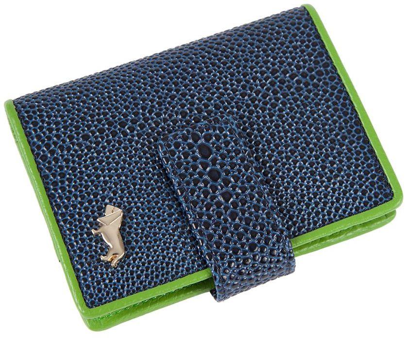Визитница Labbra L048-0005 blue/greenINT-06501Визитница торговый марки LABBRA из натуральной кожи. Модель вмещает 24 визитных карточки, имеется потайной кармашек. Закрывается на кнопку. плотная кожа с тиснением