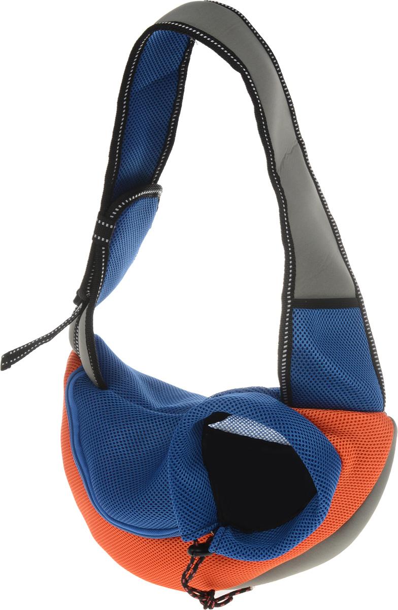 Сумка-переноска для животных Каскад Слинг, через плечо, цвет: синий, серый, оранжевый, 35 х 25 х 13 см26365300_синий, серый, оранжевыйТекстильная сумка-переноска Каскад Слинг предназначена для собак мелких пород и кошек. Изделие закрывается сбоку на застежку-молнию и затягивается в области головы животного на шнурок на кулиске. Для удобной переноски предусмотрена широкая лямка с регулируемой длиной. Сбоку расположена сетчатая ткань, позволяющая поступать в сумку воздуху. Снизу имеется мягкая вставка, обеспечивающая удобство питомца. Внутри расположен карабин, к которому можно пристегнуть ошейник питомца.