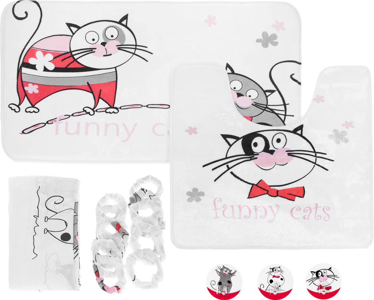 Набор для ванной комнаты Tatkraft Funny Cats, 3 предмета + ПОДАРОК: Крючок адгезивный Tatkraft Funny Cats, 3 шт18075+подарокНабор для ванной комнаты Tatkraft Funny Cats состоит из коврика для ванной, коврика для туалета и шторы для ванной. Коврики выполнены из микрофибры Ultra Soft со специальным противоскользящим основанием и украшены изображением веселых котов. За счет низкой гигроскопичности коврики не теряют своих свойств даже при высокой влажности. Они гипоаллергенны, гигиеничны, не подвержены воздействию микроорганизмов и плесени. Коврики идеально сочетаются со шторой для ванной комнаты, изготовленной из текстиля. Шторка для ванной комнаты выполнена из полиэстера и украшена изображением веселых котов. Штора содержит утяжелитель для отвеса. В комплект входит 12 обшитых тканью колец, исключающих неприятный шум при использовании.Также к набору прилагается подарок в виде трех адгезивных крючков с изображением веселых котов.Крючок может быть установлен только на ровной воздухонепроницаемой поверхности: плитка, стекло, пластик, металл, ламинированное дерево и другие. Крючок является многоразовым, что позволяет перевесить его в любое удобное место. Крючок Tatkraft Funny cats имеет авторский дизайн, который украсит любой интерьер.Набор для ванной комнаты Tatkraft Funny Cats подарит вам ощущение тепла и комфорта, а изысканный дизайн поможет привнести уют в вашу ванную комнату. Размер коврика для ванной: 50 см х 80 см. Размер коврика для туалета: 55 см х 60 см. Размер шторы для ванной: 180 см х 180 см. Диаметр крючка: 8 см.