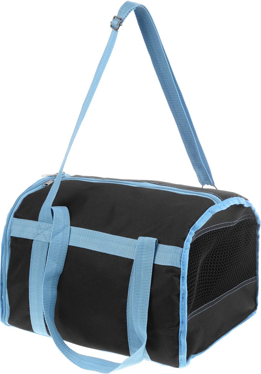 Сумка-переноска для животных Каскад Спорт, цвет: черный, голубой, 40 х 28 х 29 см21395599Текстильная сумка-переноска Каскад Спорт для собакмелких пород и кошек имеет твердое основание, которое непозволит животному провисать. С одной стороны переноскиимеется специальная сетчатая вставка, чтобы ваш любимец могдышать. С другой стороны сумка закрывается на застежку-молнию. В верхней части изделия есть застежка-молния, открывающая доступ в отделение для необходимых вам вещей.Для удобной переноски у сумки имеются две ручки ирегулируемая лямка.При необходимости сумку можно сложить. Сумка-переноска Каскад Спорт понравится вашимдомашним любимцам.