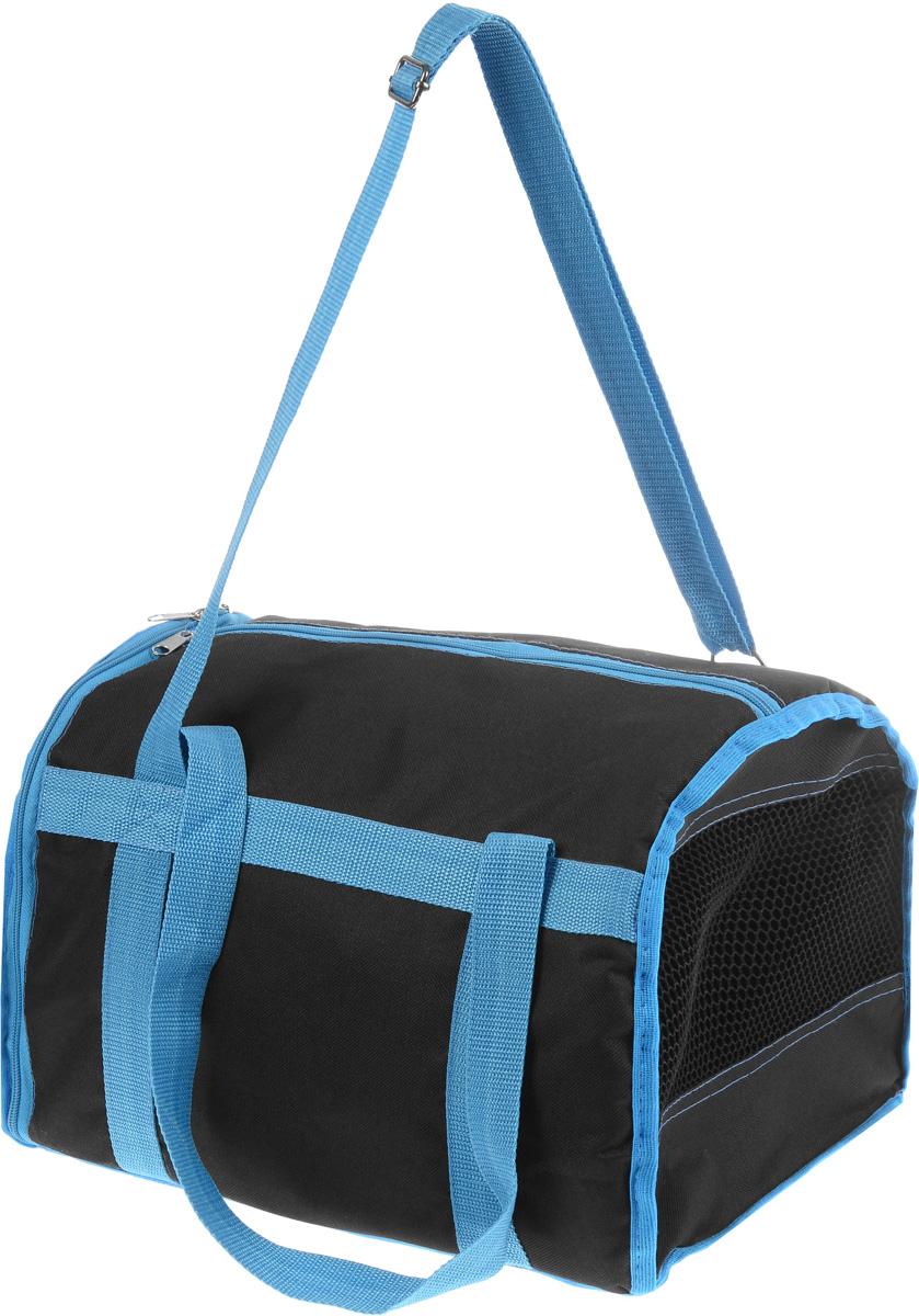 Сумка-переноска для животных Каскад Спорт, цвет: черный, голубой, 37 х 27 х 25 см0120710Текстильная сумка-переноска Каскад Спорт для собакмелких пород и кошек имеет твердое основание, которое непозволит животному провисать. С одной стороны переноскиспециальная сетчатая вставка, чтобы ваш любимец могдышать. С другой стороны сумка закрывается на застежку-молнию. В верхней части изделия есть застежка-молния, открывающая доступ в отделение для необходимых вам вещей.Для удобной переноски у сумки имеются две ручки ирегулируемая лямка.При необходимости сумку можно сложить. Сумка-переноска Каскад Спорт понравится вашимдомашним любимцам.