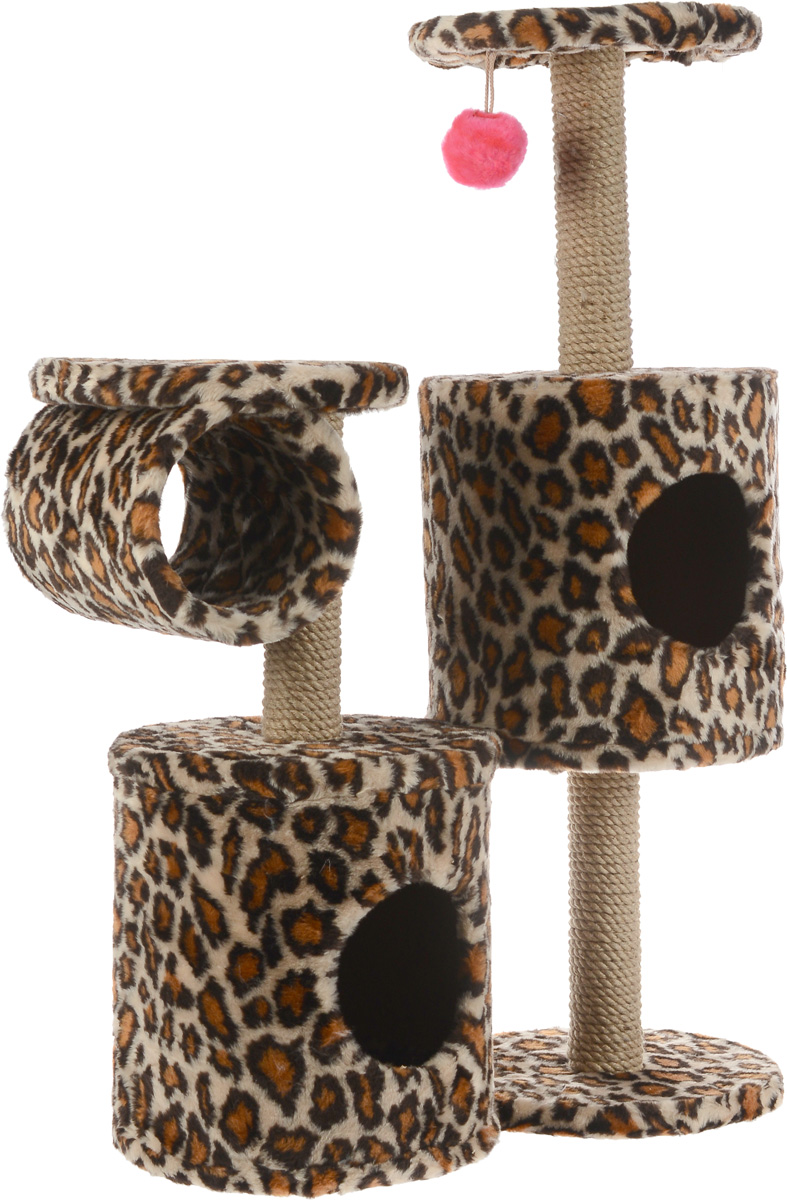 Игровой комплекс для кошек ЗооМарк Базилио, цвет: леопардовый, 70 х 31 х 97 см145_леопардовыйИгровой комплекс для кошек ЗооМарк Базилио выполнен из высококачественного дерева и обтянут искусственным мехом. Изделие предназначено для кошек. Ваш домашний питомец будет с удовольствием точить когти о специальные столбики, изготовленные из джута. А отдохнуть он сможет либо на полках разной высоты, либо в домиках. Также комплекс оснащен подвесной игрушкой, привлекающей внимание кошки.Общий размер: 70 х 31 х 97 см.Размер домиков: 31 х 31 х 32 см.Диаметр полок: 31 см.