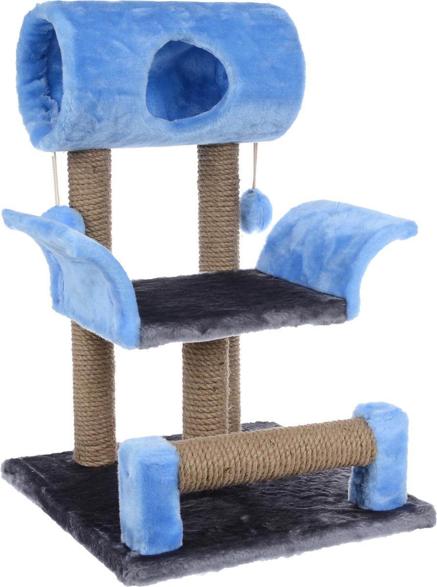 Когтеточка ЗооМарк Васька, цвет: серый, голубой, 71 х 45 х 53 см0120710Когтеточка Васька поможет сохранить мебель и ковры в доме от когтей вашего любимца, стремящегося удовлетворить свою естественную потребность точить когти. Когтеточка изготовлена из дерева, искусственного меха и джута. Товар продуман в мельчайших деталях и, несомненно, понравится вашей кошке. Сверху имеется несколько висячих игрушек, которые привлекут питомца.Всем кошкам необходимо стачивать когти. Когтеточка - один из самых необходимых аксессуаров для кошки. Для приучения к когтеточке можно натереть ее сухой валерьянкой или кошачьей мятой. Когтеточка поможет вашему любимцу стачивать когти и при этом не портить вашу мебель.Диаметр домика: 20 смДлина полки: 33 смРазмер когтеточки: 71 см х 45 см х 53 см