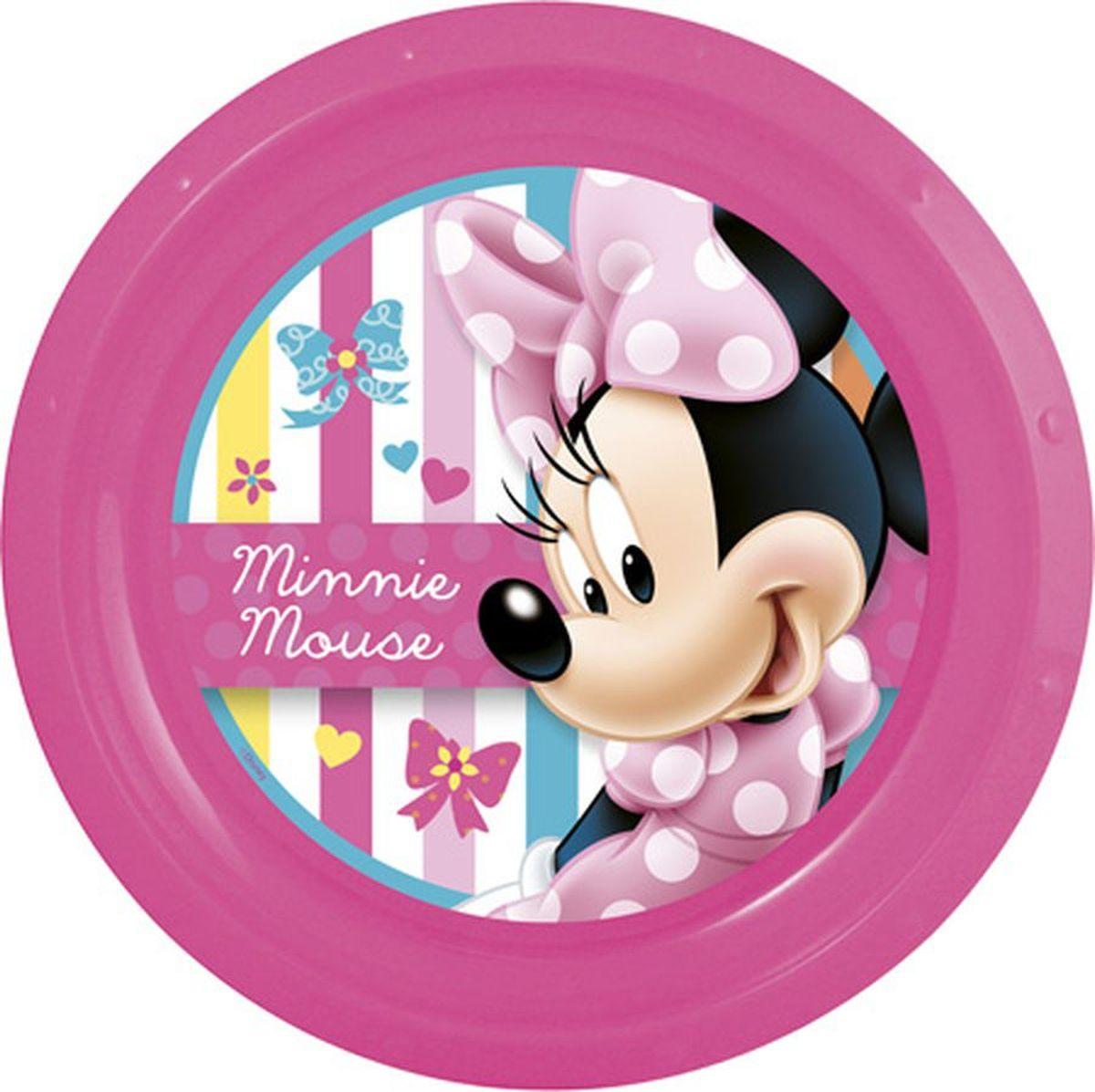 Disney Тарелка Минни диаметр 21,5 см15632_розовыйЯркая тарелка Disney превратит процесс кормления вашего малыша в веселую игру. Дно оформлено изображением забавной мышки Минни. Ваш ребенок будет кушать с большим удовольствием, стараясь быстрее добраться до картинки.