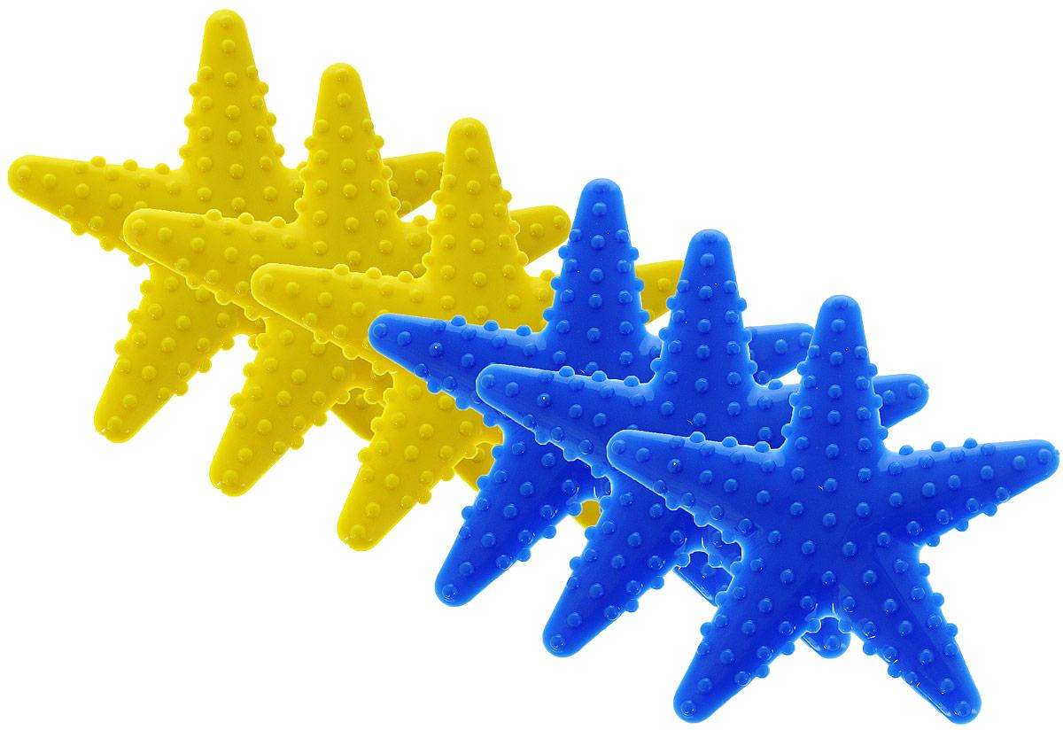 Valiant Мини-коврик для ванной комнаты Морская звезда на присосках цвет желтый синий 6 шт382-01Мини-коврик для ванной комнаты Valiant Морская звезда - это модный и экономичный способ сделать вашу ванную комнату более уютной, красивой и безопасной.В наборе представлены 6 мини-ковриков в виде синих и желтых морских звезд. Коврики прочно крепятся на любую гладкую поверхность с помощью присосок. Расположите коврик там, где вам необходимо яркое цветовое пятно и надежная противоскользящая опора - на поверхности ванной, на кафельной стене или стенке душевой кабины, на полу - как дополнение вашего коврика стандартного размера.Мини-коврики Valiant незаменимы при купании маленького ребенка: он не поскользнется и не упадет, держась за мягкую и приятную на ощупь рифленую поверхность коврика.Рекомендации по уходу: после использования тщательно смойте остатки мыла или других косметических средств с коврика.