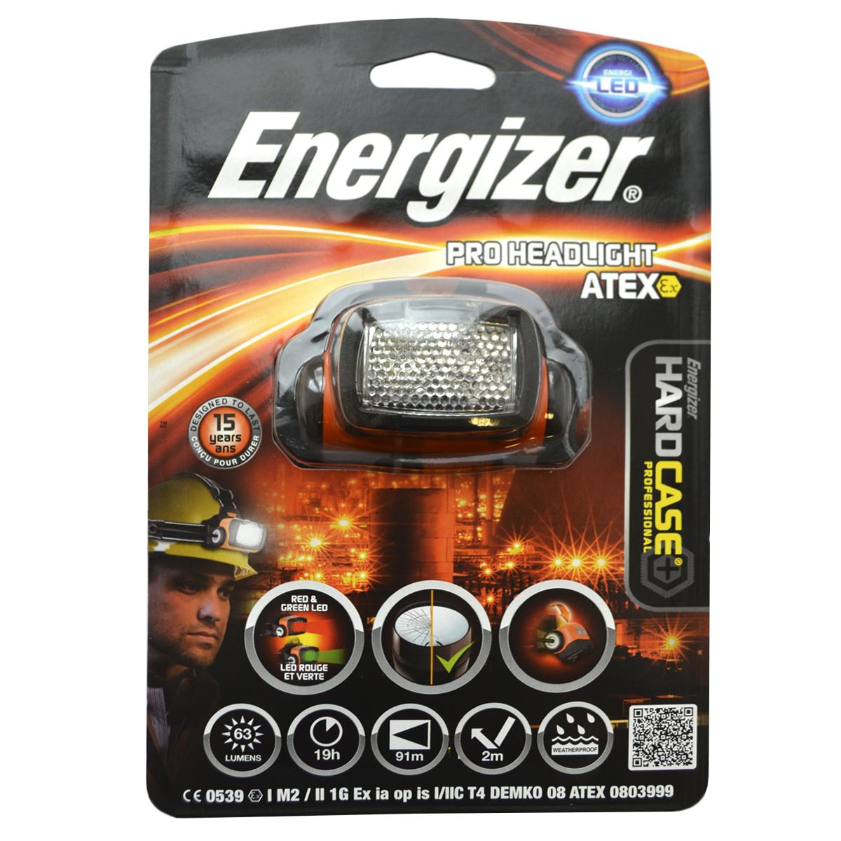 Налобный фонарь Energizer ATEX HLKOC-H19-LED1-й класс, 1-й разрядПоворотный световой блок позволяет направлять луч туда, куда нужноПоддерживает четыре режима свечения – сильный и слабый белый, красный для ночного видения и зеленый для осмотраУбирающиеся линзы, рассеивающие направленный свет, чтобы обеспечить яркое зональное освещениеРасположенный сзади батарейный блок равномерно распределяет вес для комфортного ношенияНескользящий ремень надежно фиксирует фонарьЧрезвычайно длительный срок службы – рассчитан на 15 летБезосколочные линзыРаботает от 3 батареек типоразмера AA