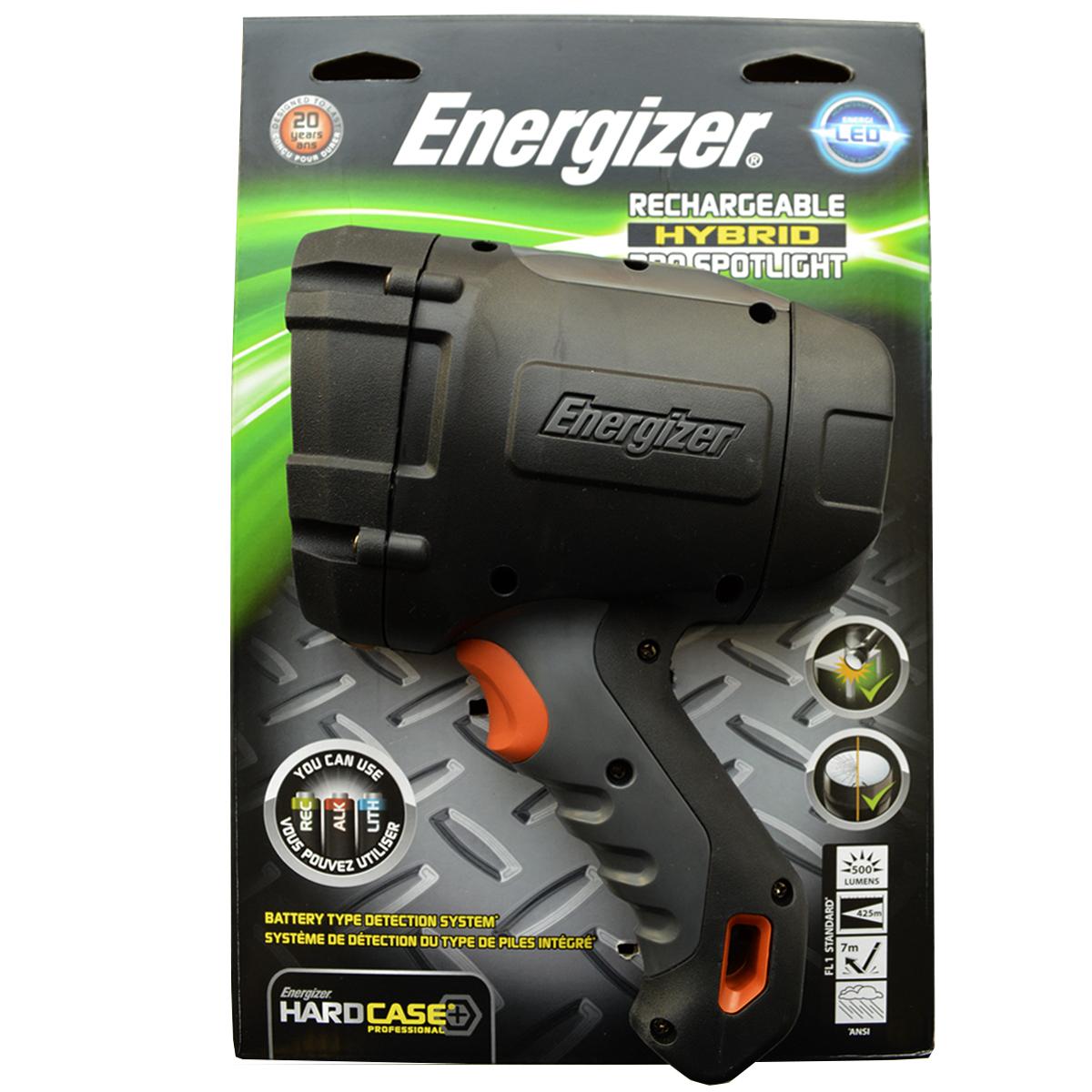 Фонарь ручной Energizer HardCasePro Rech. 6396194606400030652Очень удобно – работает от аккумуляторных, щелочных и литиевых батареекИнновационная уникальная система распознавания батареекСветодиод CreeАвтомобильное зарядное устройство в комплектеЧрезвычайно длительный срок службы – рассчитан на 15 летРаботает от 4 аккумуляторных батареек типоразмера AA (в комплекте)