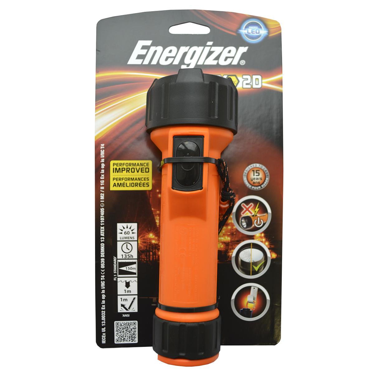 Ручной фонарь Energizer ATEX 2xD excl (MS2DLED1)KOCAc6009LED1-й класс, 1-й разрядВысокая ударопрочностьВстроенный зажим-карабин для крепления на ременьПростой в использовании кнопочный выключательУстойчивый к воздействию масел и смазки водонепроницаемый корпусЧрезвычайно длительный срок службы – рассчитан на 15 лет2 модели: под батарейки типоразмера D (2 шт.) и AA (2 шт.)Работает от 2 батареек типоразмера D