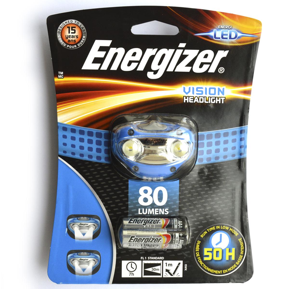 Фонарь налобный Energizer Headlight Vision. E300280300677422 белых светодиодаРежимы освещения с высокой и низкой мощностьюПолзунковый переключатель включения/выключенияРегулируемая эластичная лента для крепления на головуПоворотная головка Небьющиеся линзыУстойчив к падению с высоты в 1 метр Расчетный срок службы 15 лет3 щелочных батарейки типоразмера AAA (входят в комплект)Обновлен и улучшен по сравнению с предыдущей линейкой, светит до 4 раз ярче, чем обычные светодиодные фонари