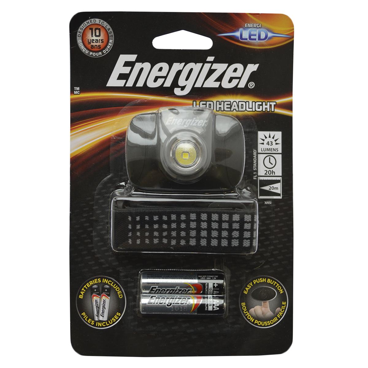 Фонарь налобный Energizer LED Headlight. E300370900KOC-H19-LEDКомпактного размераЛегкий для комфортного использованияРегулируемый ремешокУдобный переключатель включения/выключенияРешение на каждый день, позволяющее держать руки свободнымиРаботает на 2 батарейках типоразмера AAA (входят в комплект)