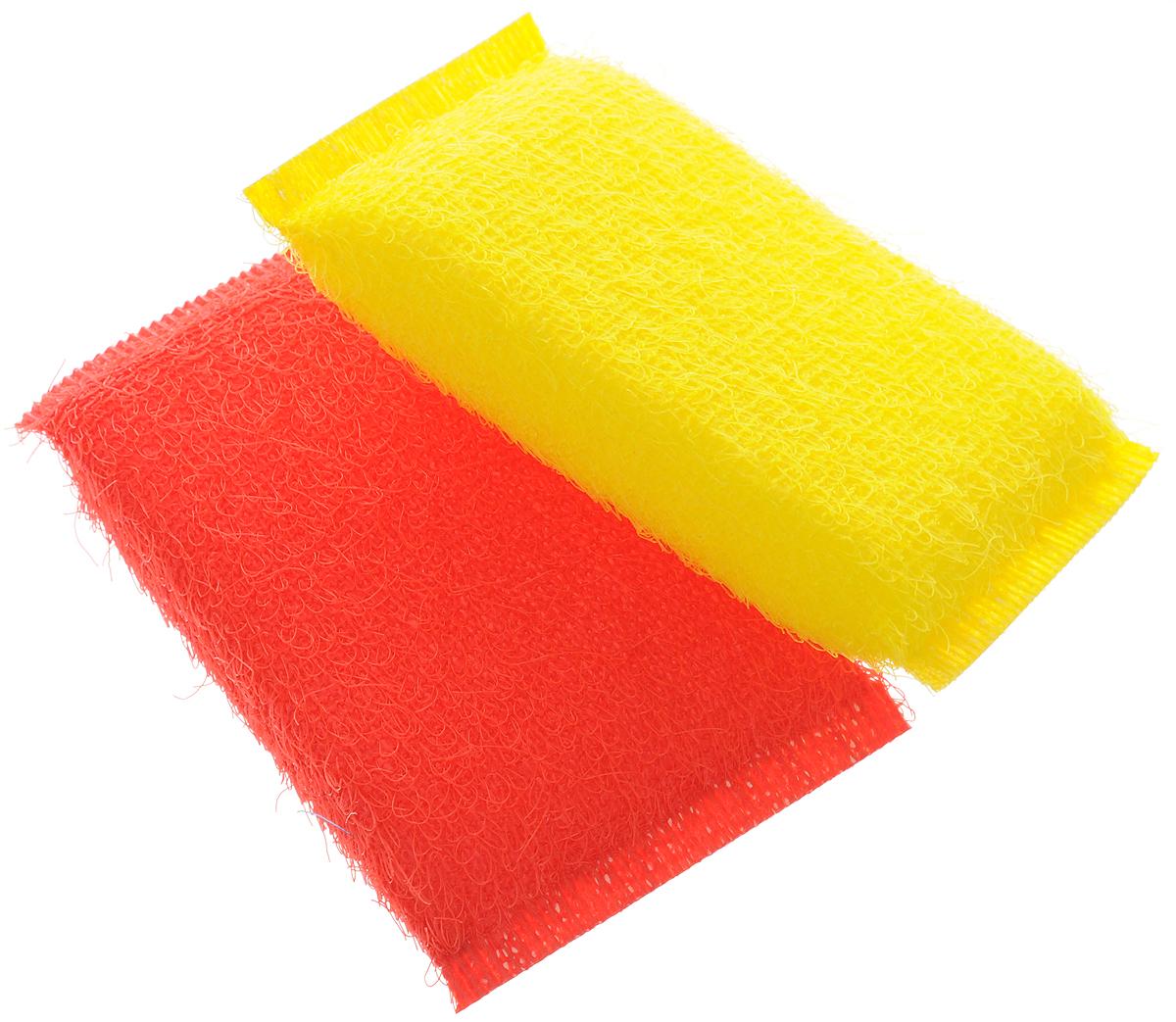 Губка для мытья посуды Хозяюшка Мила Кактус, цвет: желтый, красный, 2 шт хозяюшка мила губка д посуды люкс 3шт 1108971