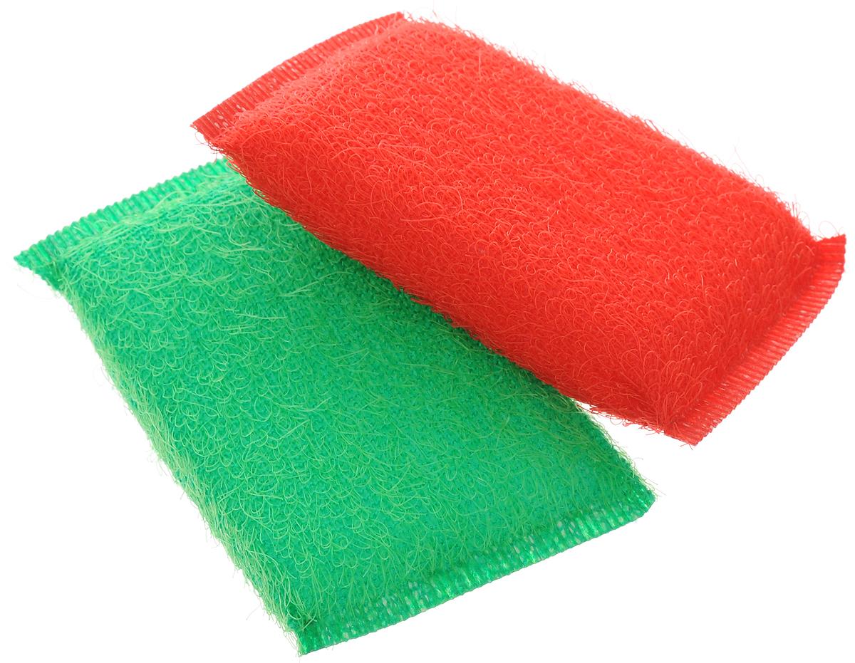 """Губка для мытья посуды Хозяюшка Мила """"Кактус"""", цвет: красный, зеленый, 2 шт"""