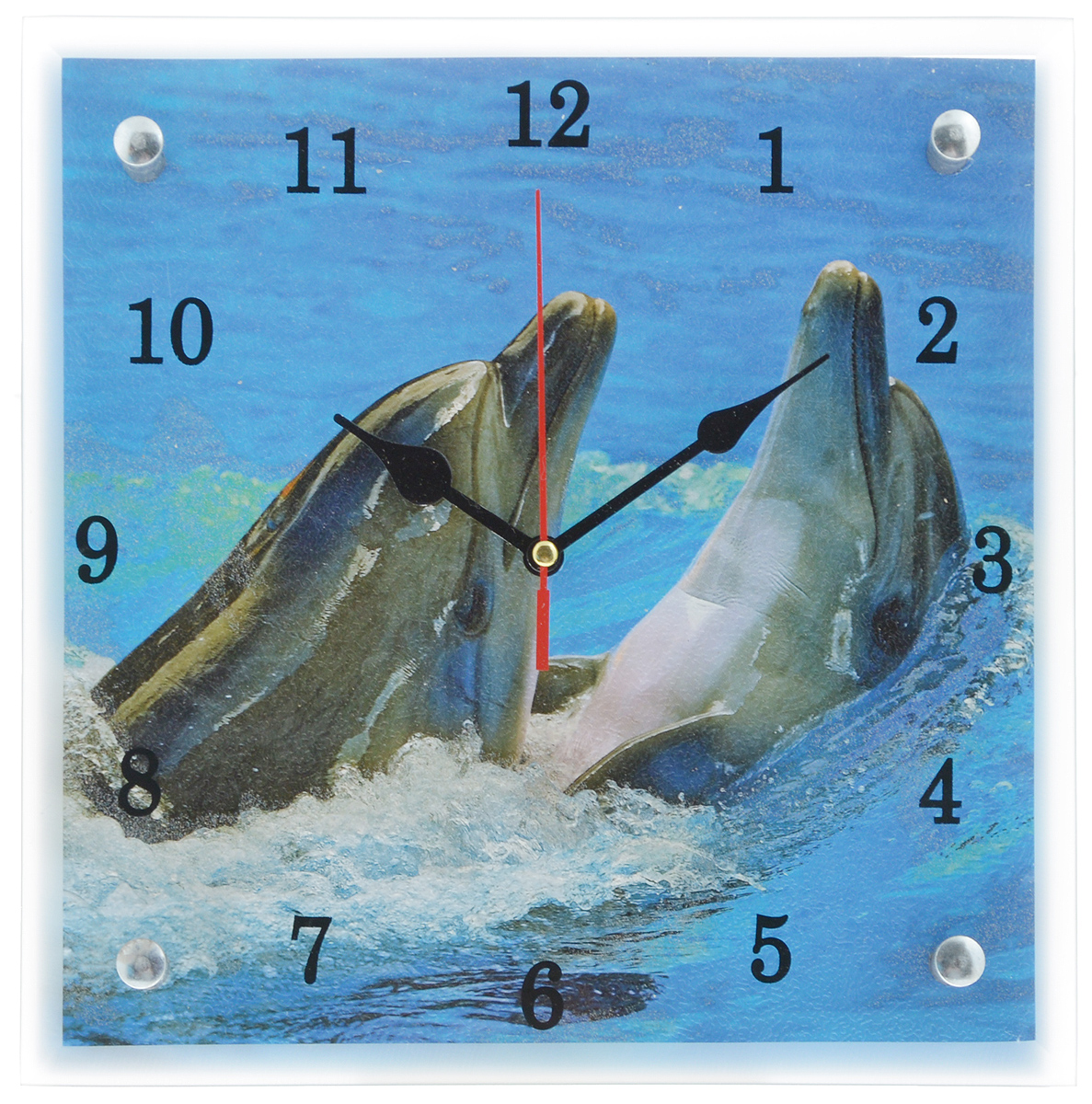 Часы настенные Proffi Home Дельфины, 25 х 25 см300074_ежевикаНастенные кварцевые часы Proffi Home Дельфины, изготовленные из ДВП и стекла, прекрасно подойдут под интерьер вашего дома. Квадратные часы имеют три стрелки: часовую, минутную и секундную. Часы оснащены металлической петелькой для подвешивания. Часы работают от 1 батарейки типа АА напряжением 1,5 В (не входит в комплект).Размер часов: 25 х 25 х 3,5 см.