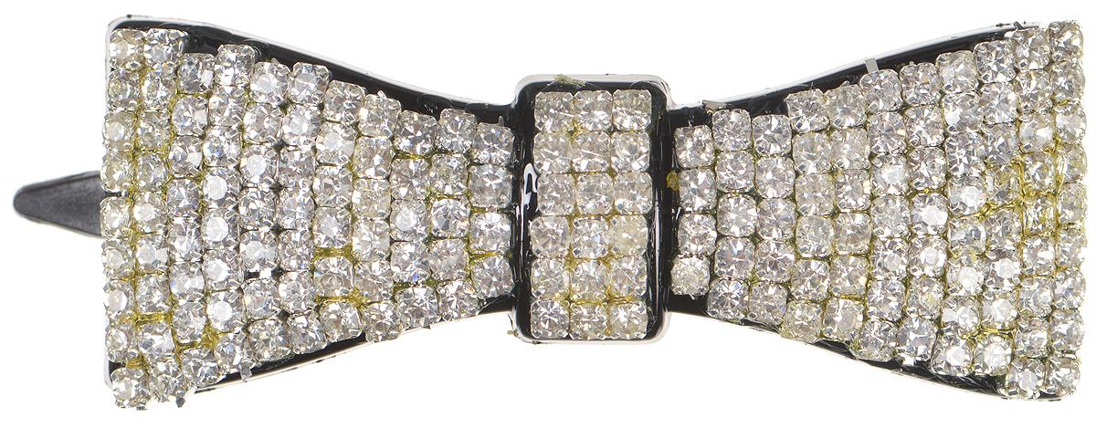 Зажим для волос женский Fashion House, цвет: серебро, черный. FH29867MP59.4DИзящная заколка-зажим Fashion House выполнена в форме бантика из пластика, декорированного сверкающими кристаллами.Яркий изысканный дизайн заколки-зажима для волос Fashion Houseделают ее не только удобным и практичным, но и стильным и нарядным аксессуаром, призванным выгодно подчеркнуть непревзойденную женственность и индивидуальность своей обладательницы.