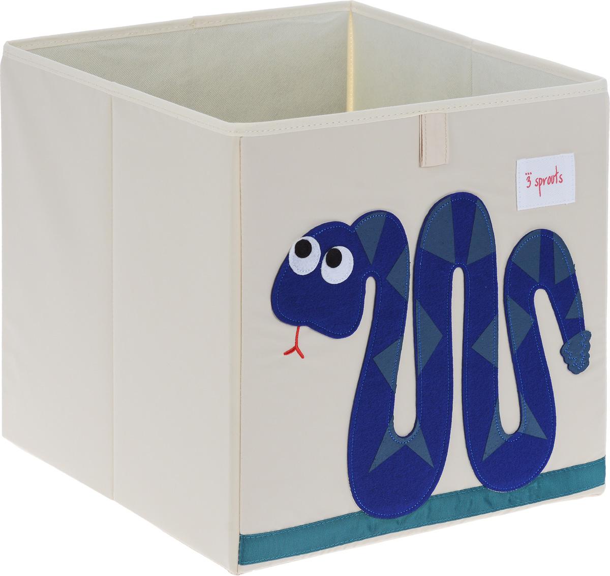 3 Sprouts Коробка для хранения Змейка00008Коробка для хранения 3 Sprouts Змейка - это отличный вариант организации пространства любой комнаты.Стороны коробки усилены с помощью картона, поэтому она всегда стоит ровно. Помещается практически во все стеллажи с квадратными отсеками и добавляет озорства любой комнате. Стоит ли коробка отдельно или на полке стеллажа, она обеспечит прекрасную организацию в вашем доме.Уход: снаружи - только выведение пятен.