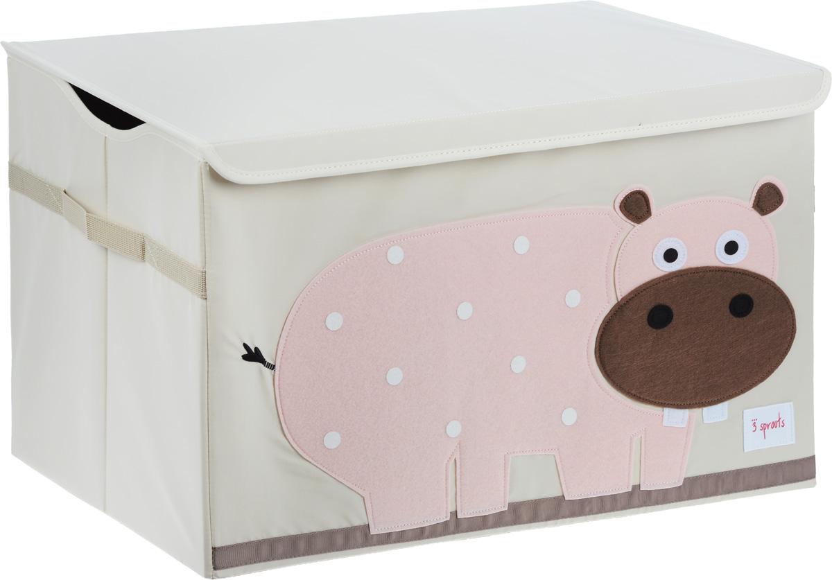 3 Sprouts Сундук для хранения игрушек Розовый гиппопотам