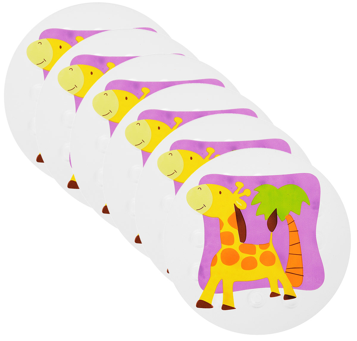 Valiant Мини-коврик для ванной комнаты Жирафик на присосках 6 шт68/5/4Мини-коврик для ванной комнаты Valiant Жирафик - это модный и экономичный способ сделать вашу ванную комнату более уютной, красивой и безопасной.В наборе представлены 6 круглых мини-ковриков с изображением забавных жирафиков. Коврики прочно крепятся на любую гладкую поверхность с помощью присосок. Расположите коврик там, где вам необходимо яркое цветовое пятно и надежная противоскользящая опора - на поверхности ванной, на кафельной стене или стенке душевой кабины, на полу - как дополнение вашего коврика стандартного размера.Мини-коврики Valiant незаменимы при купании маленького ребенка: он не поскользнется и не упадет, держась за мягкую и приятную на ощупь рифленую поверхность коврика.Рекомендации по уходу: после использования тщательно смойте остатки мыла или других косметических средств с коврика.