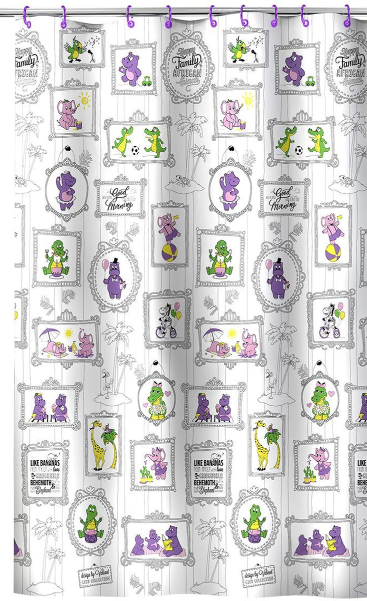 Valiant Штора для ванной Веселая АфрикаK1818-AFЗабавная штора для ванной Valiant Веселая Африка предназначена специально для детей.Штора украсит ванную комнату и создаст неповторимую обстановку для купания детей. Высококачественный полимерный материал обладает повышенными водоотталкивающими свойствами, приятен на ощупь. Штора легко крепится на цветные пластиковые кольца (входят в комплект). Материал устойчив к воздействию света и влаги, края отверстий для подвеса выполнены из пластика, что идеально для влажной среды ванной комнаты.Штора для ванной гармонично сочетается с другими аксессуарами для ванной комнаты серии Kids Collection.