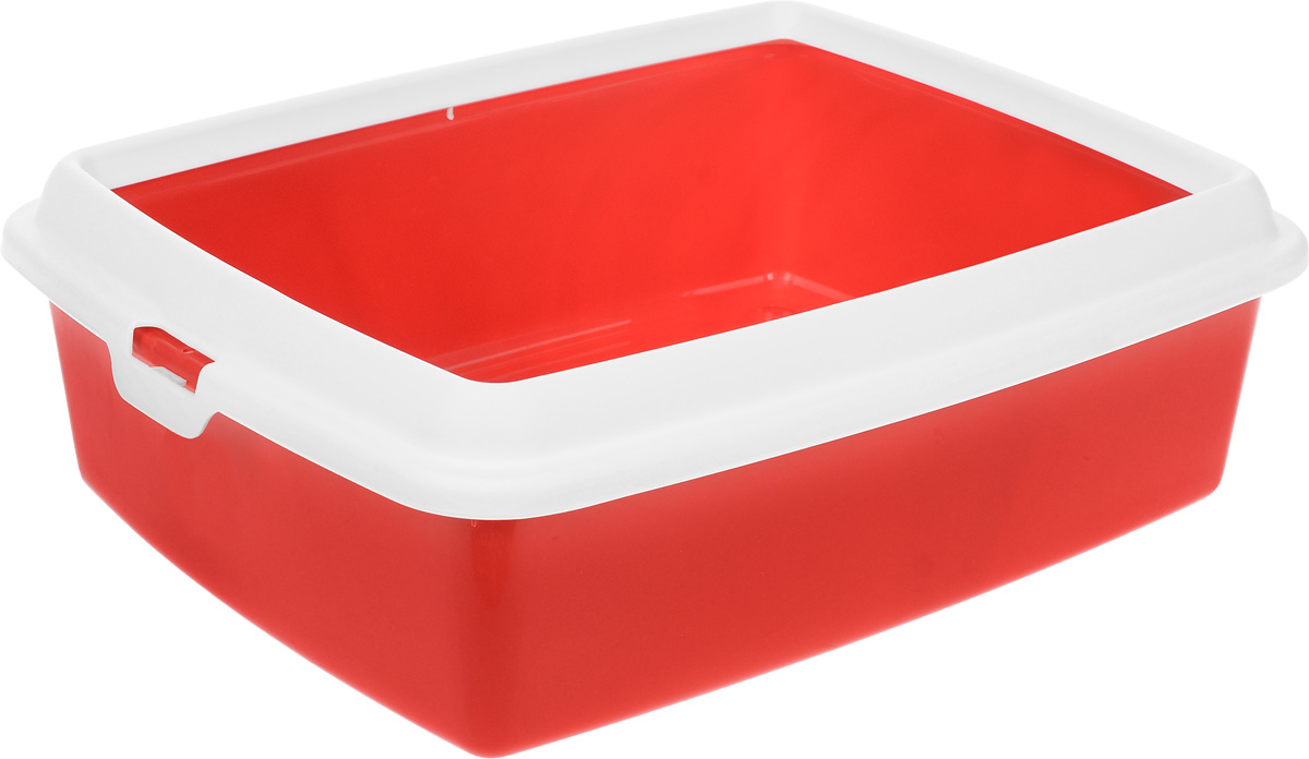 Туалет для кошек MPS  Hydra Maxi , с рамкой, цвет: красный, 50 х 40 х 16,5 см