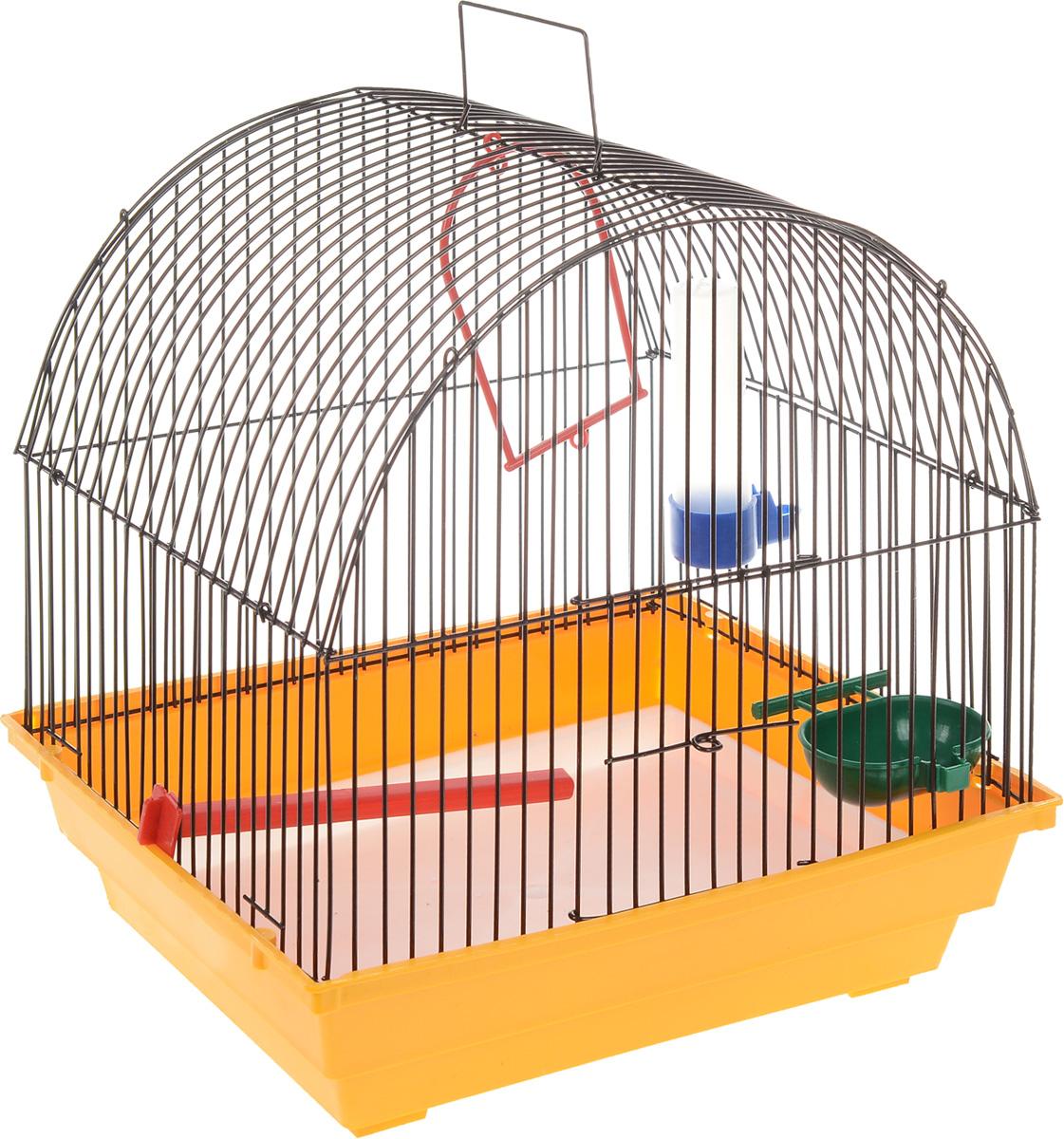 Клетка для птиц ЗооМарк, цвет: желтый поддон, черная решетка, 35 х 28 х 34 смK-T1-1Клетка ЗооМарк, выполненная из полипропилена и металла с эмалированным покрытием, предназначена для мелких птиц.Изделие состоит из большого поддона и решетки. Клетка снабжена металлической дверцей. В основании клетки находится малый поддон. Клетка удобна в использовании и легко чистится.Комплектация:- клетка с поддоном,- малый поддон,- поилка,- кормушка,- кольцо.