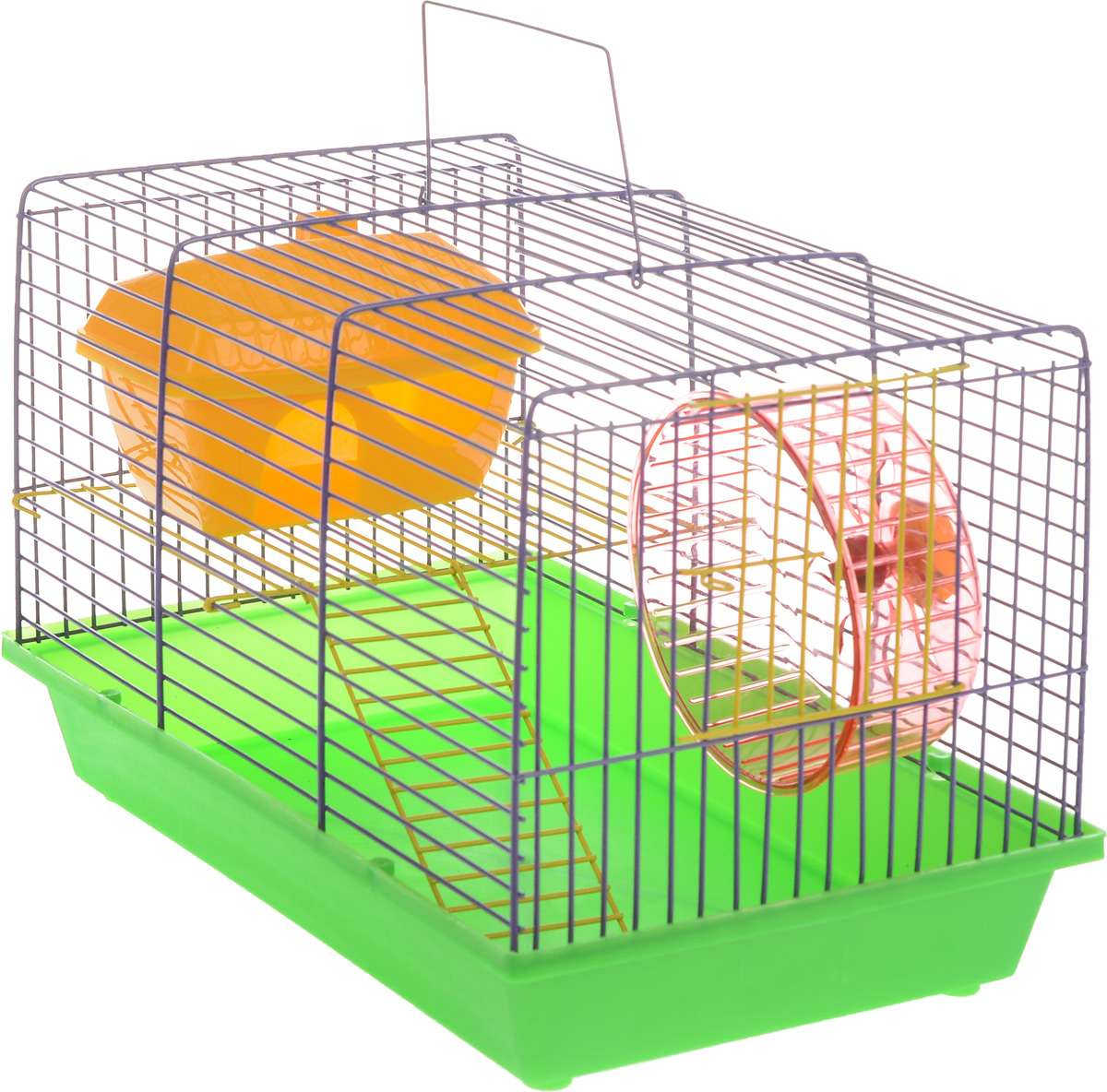 Клетка для грызунов ЗооМарк, 2-этажная, цвет: зеленый поддон, сиреневая решетка, 36 х 22 х 24 см. 125ж101246Клетка ЗооМарк, выполненная из полипропилена и металла, подходит для мелких грызунов. Изделие двухэтажное, оборудовано колесом для подвижных игр и пластиковым домиком. Клетка имеет яркий поддон, удобна в использовании и легко чистится. Сверху имеется ручка для переноски. Такая клетка станет уединенным личным пространством и уютным домиком для маленького грызуна.
